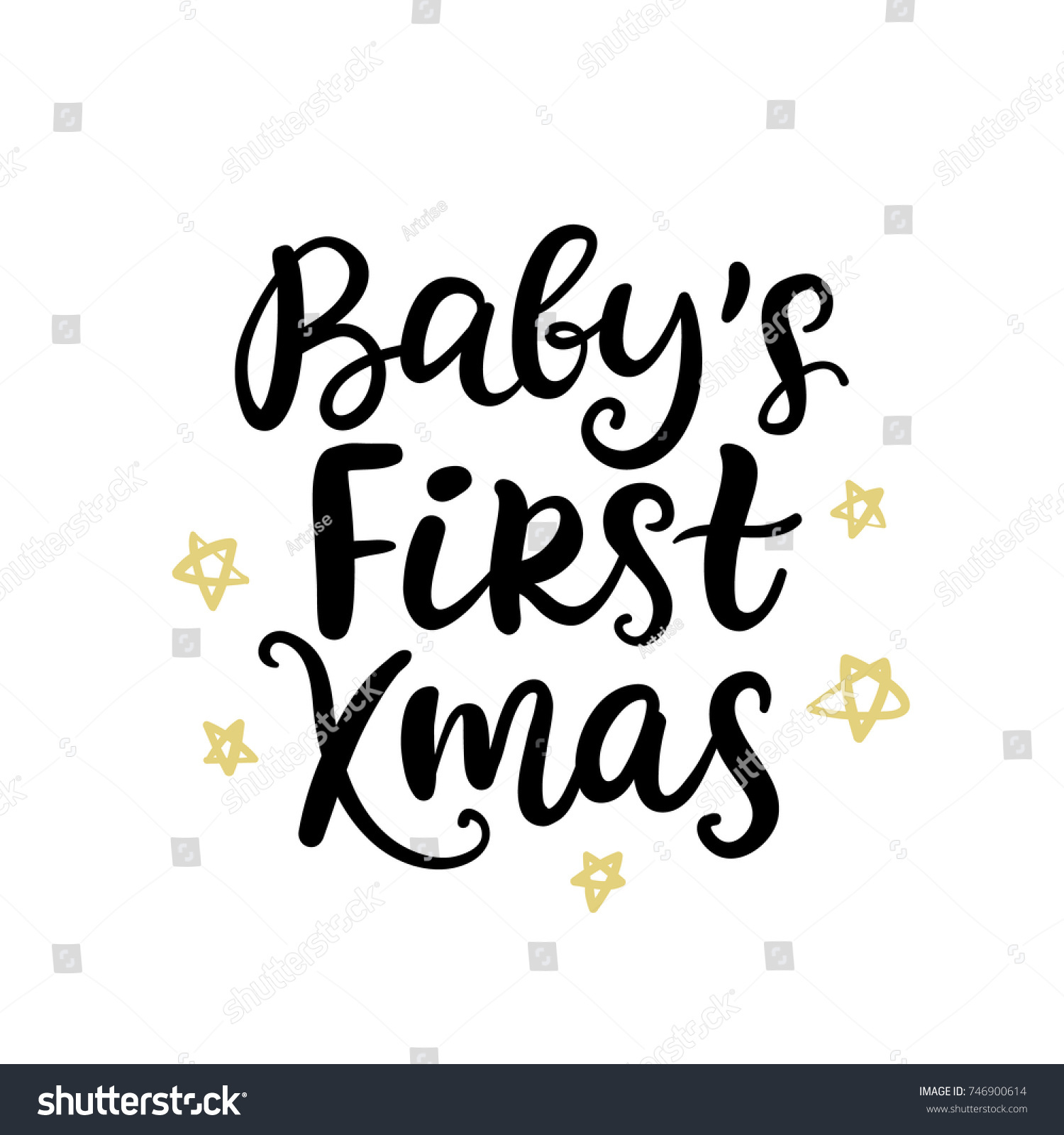 Christmas Ink Hand Lettering Babys First Stock Vector Royalty Free