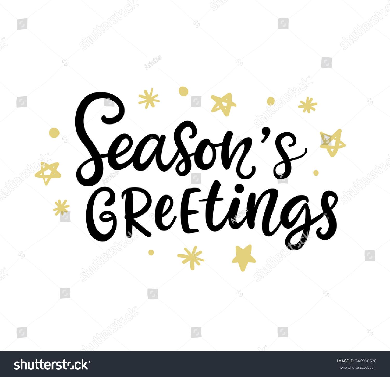 Christmas Ink Hand Lettering Seasons Greetings Stock Vector Royalty