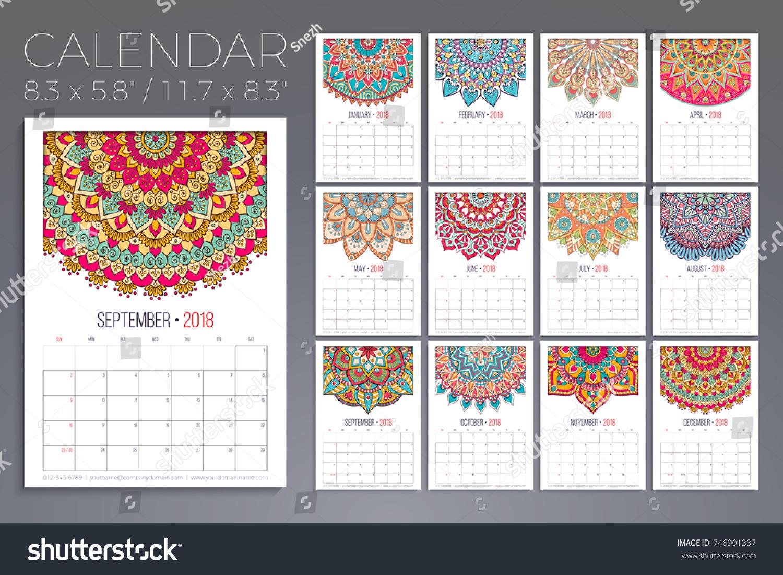 February 2018 Calendar Vintage : Calendar vintage decorative elements oriental stock