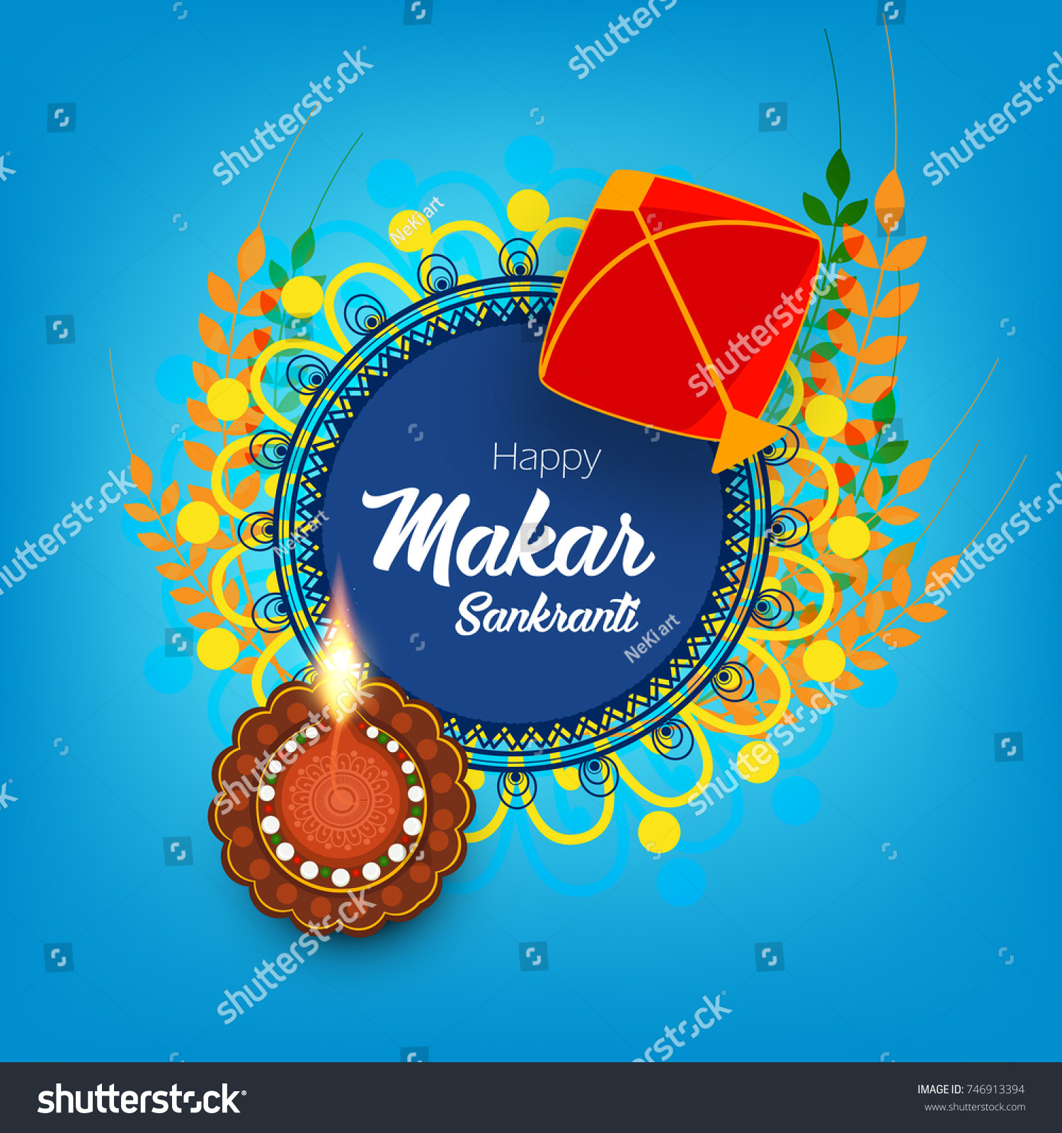 Indian Kite Flying Festival Makar Sankranti Stock Vector Royalty