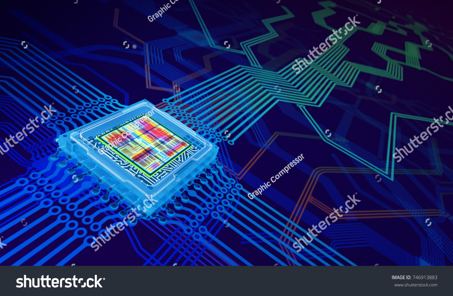 Processor Abstract Background 3 D Illustration Stock Jina Wiring Circuit Diagram 3d