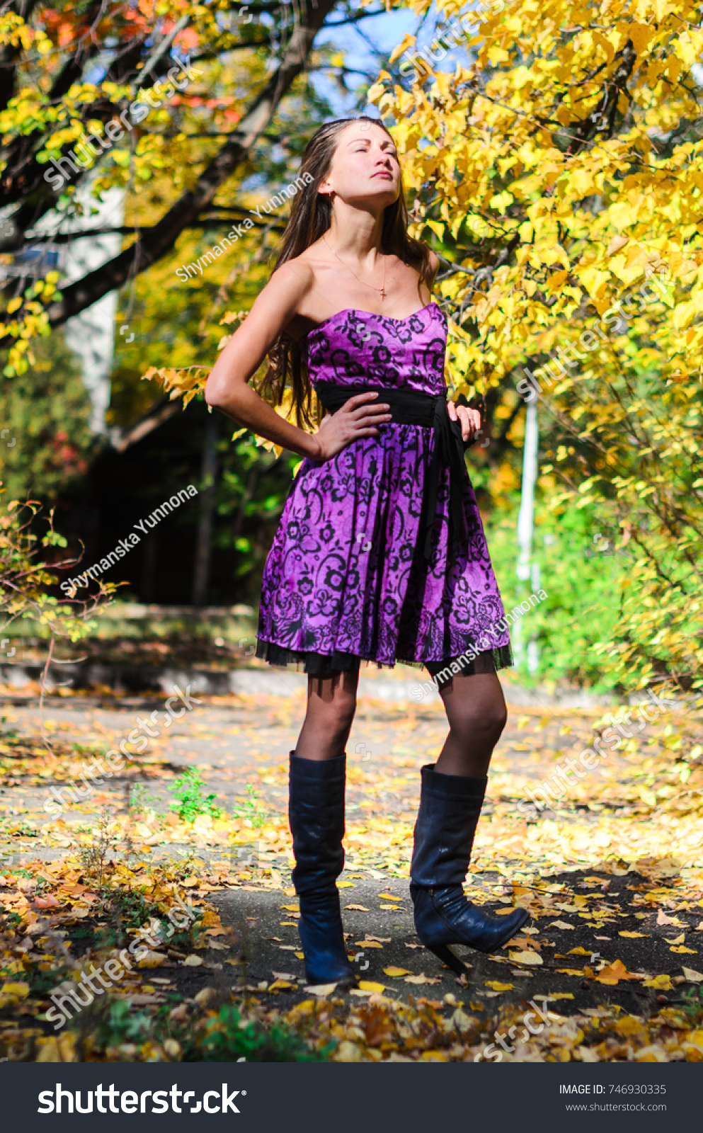 e658dc6ed Young Girl Classic Black Coat Blue Stock Photo (Edit Now) 746930335 ...