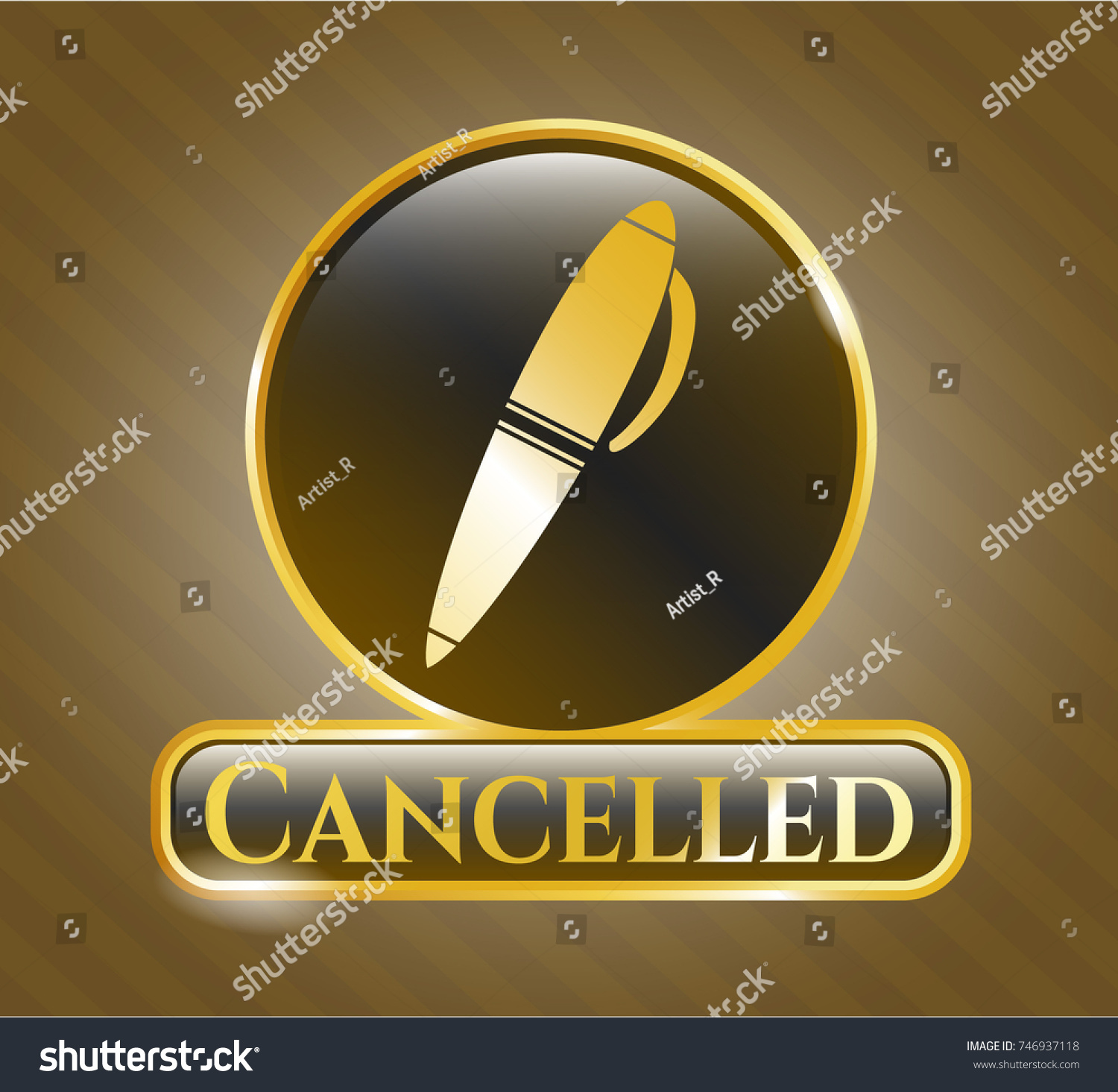 Gold emblem pen icon cancelled text stock vector 746937118 gold emblem with pen icon and cancelled text inside biocorpaavc Choice Image