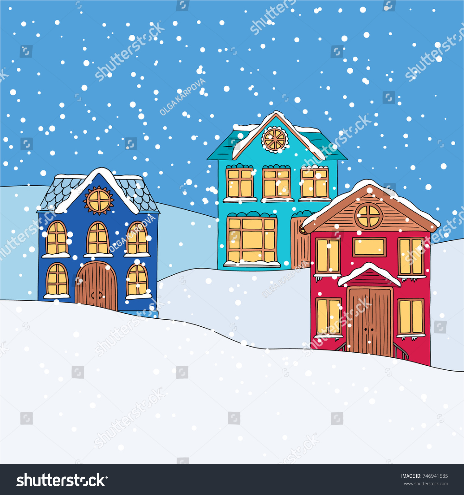 Winter houses cute doodle hand drawing evening scenery landscape with snow for christmas design