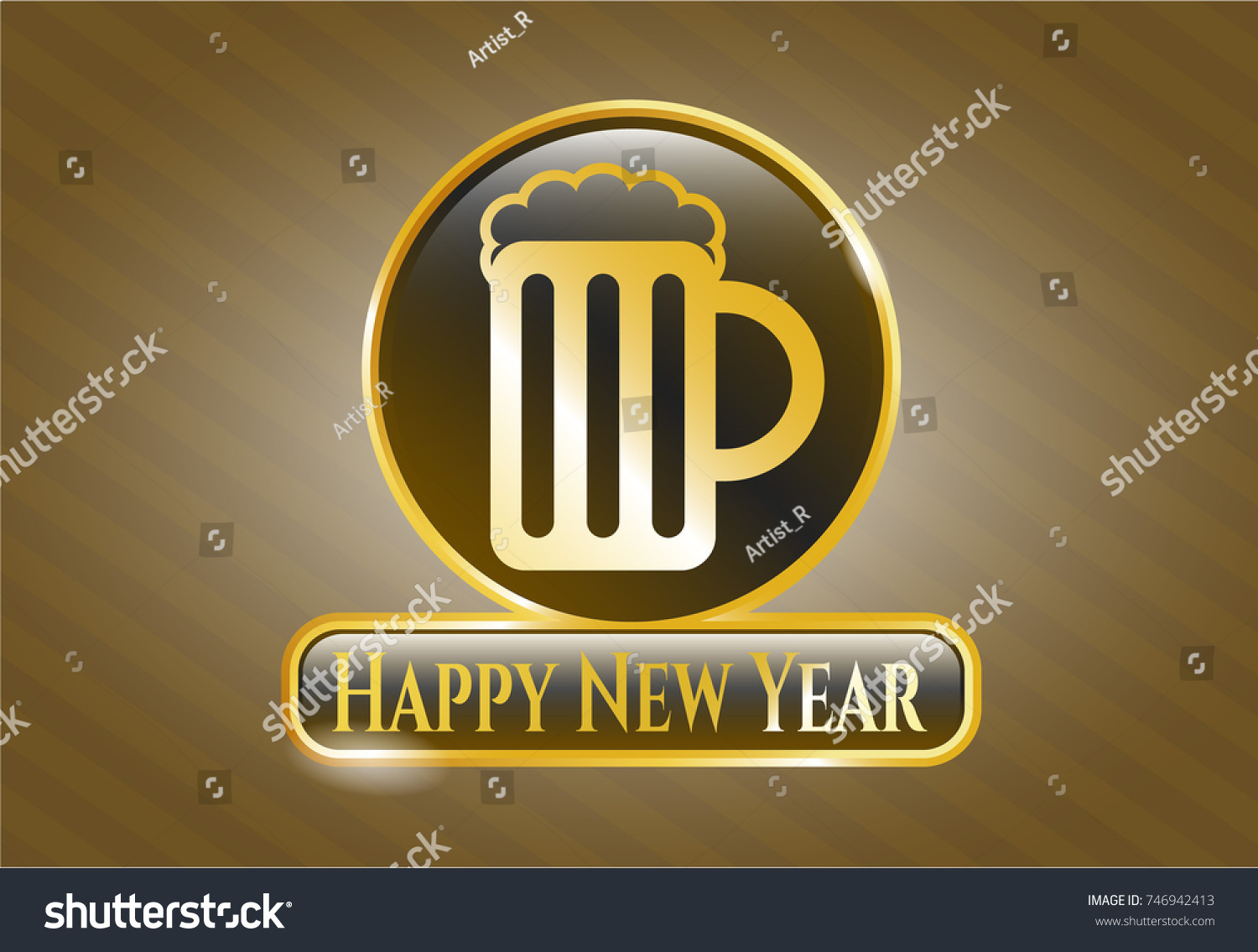 gold shiny badge with beer jar icon and happy new year text inside