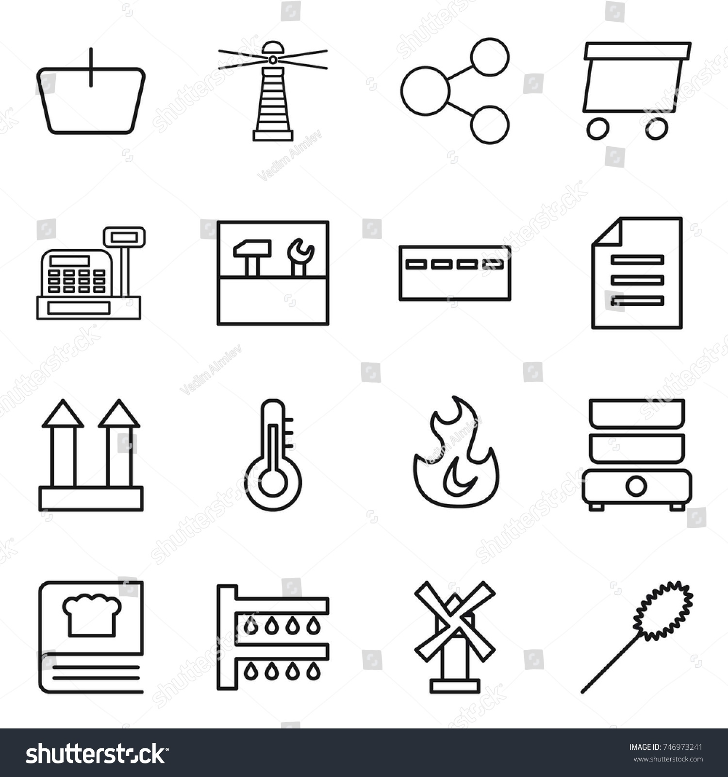 Thin Line Icon Set Basket Lighthouse Stock Vector Royalty Free Fan Wiring Diagram Share Delivery Cashbox Tools