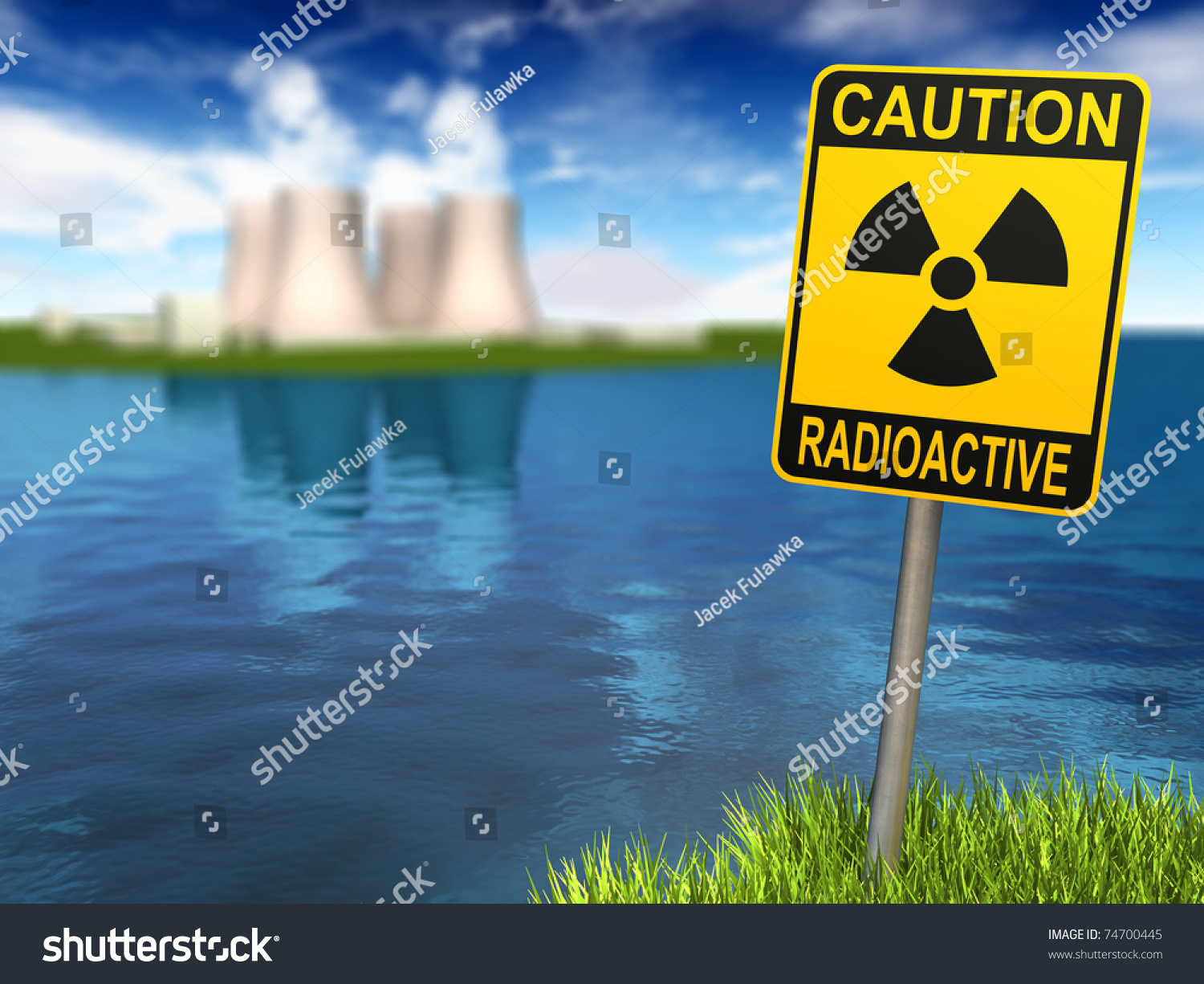 Warning sign radioactive symbol nuclear power stock illustration warning sign with radioactive symbol and nuclear power plant on the coast 3d render biocorpaavc Gallery