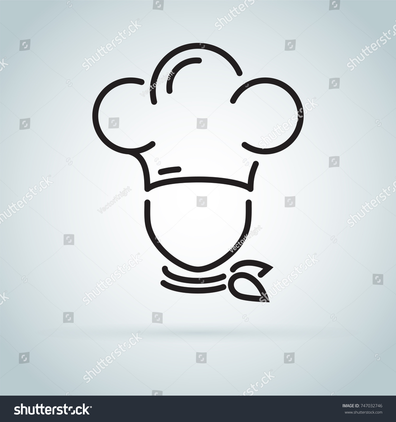 Chef in a cooking hat vector outline logo. Kitchen simple black icon. Cute  cook 5be4f86d8d22