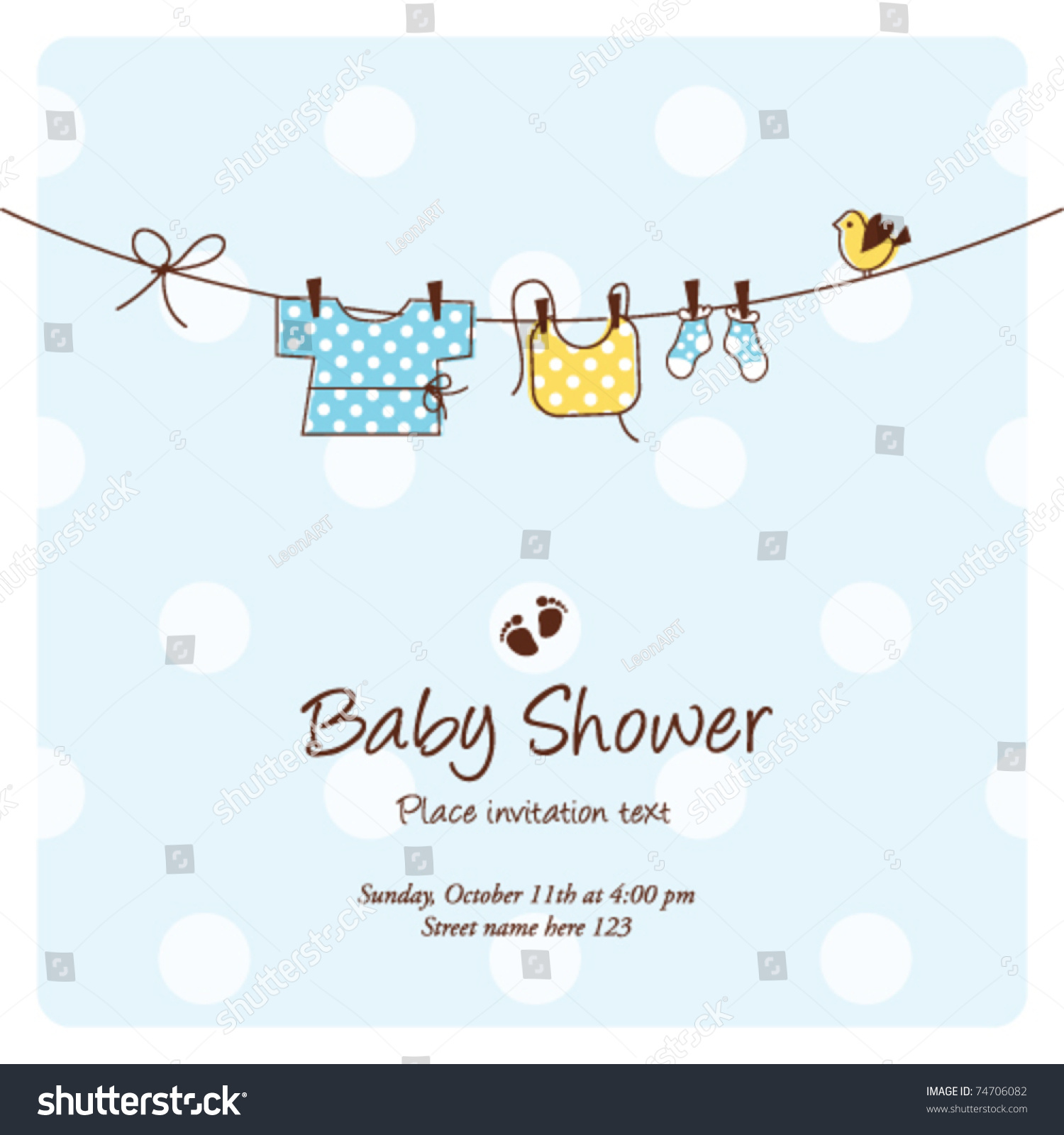 Baby Shower Background Template Vector cute Unique Stock Vector