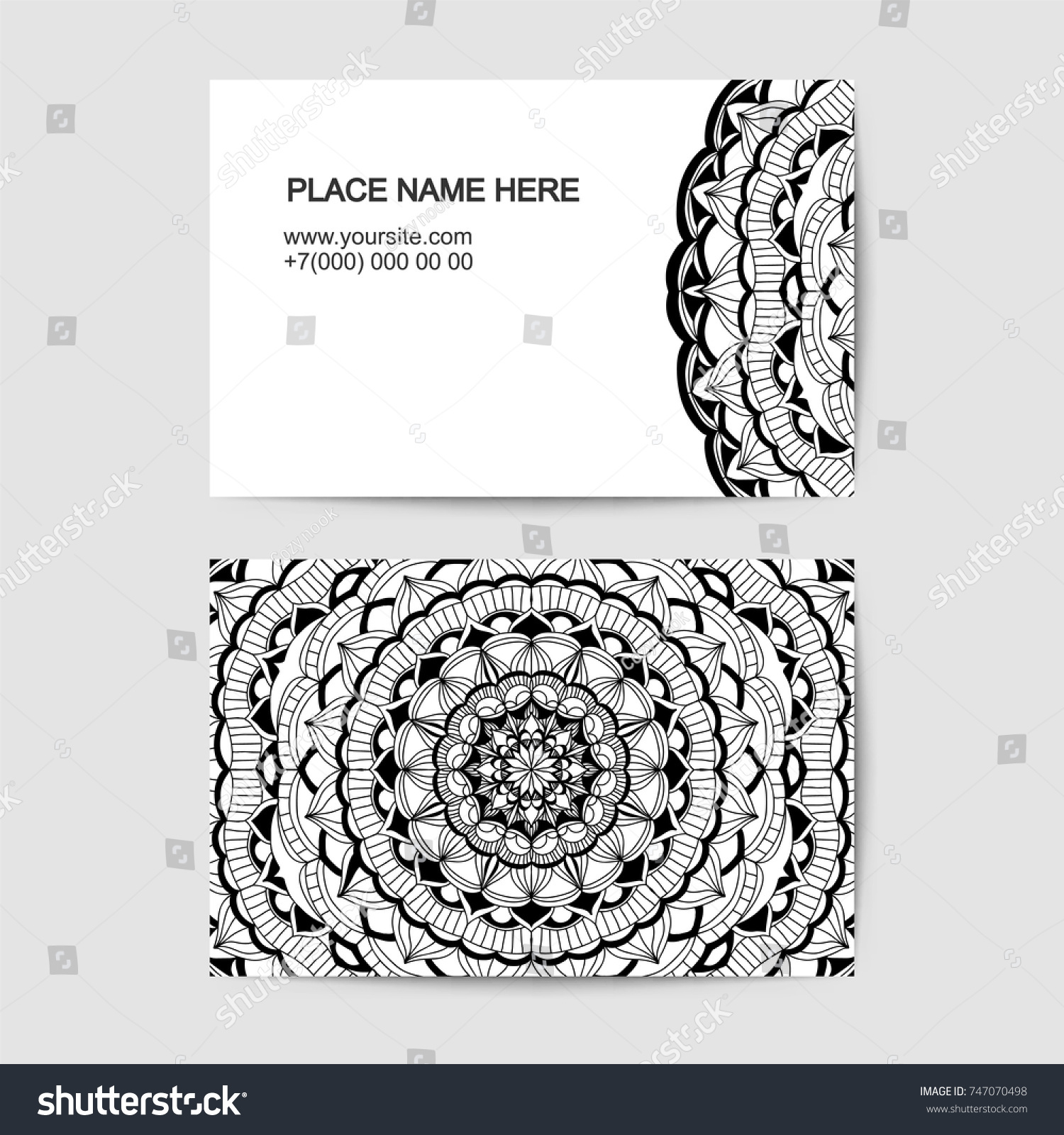 Visit Card Vector Template Lace Pattern Stock Vector 747070498 ...