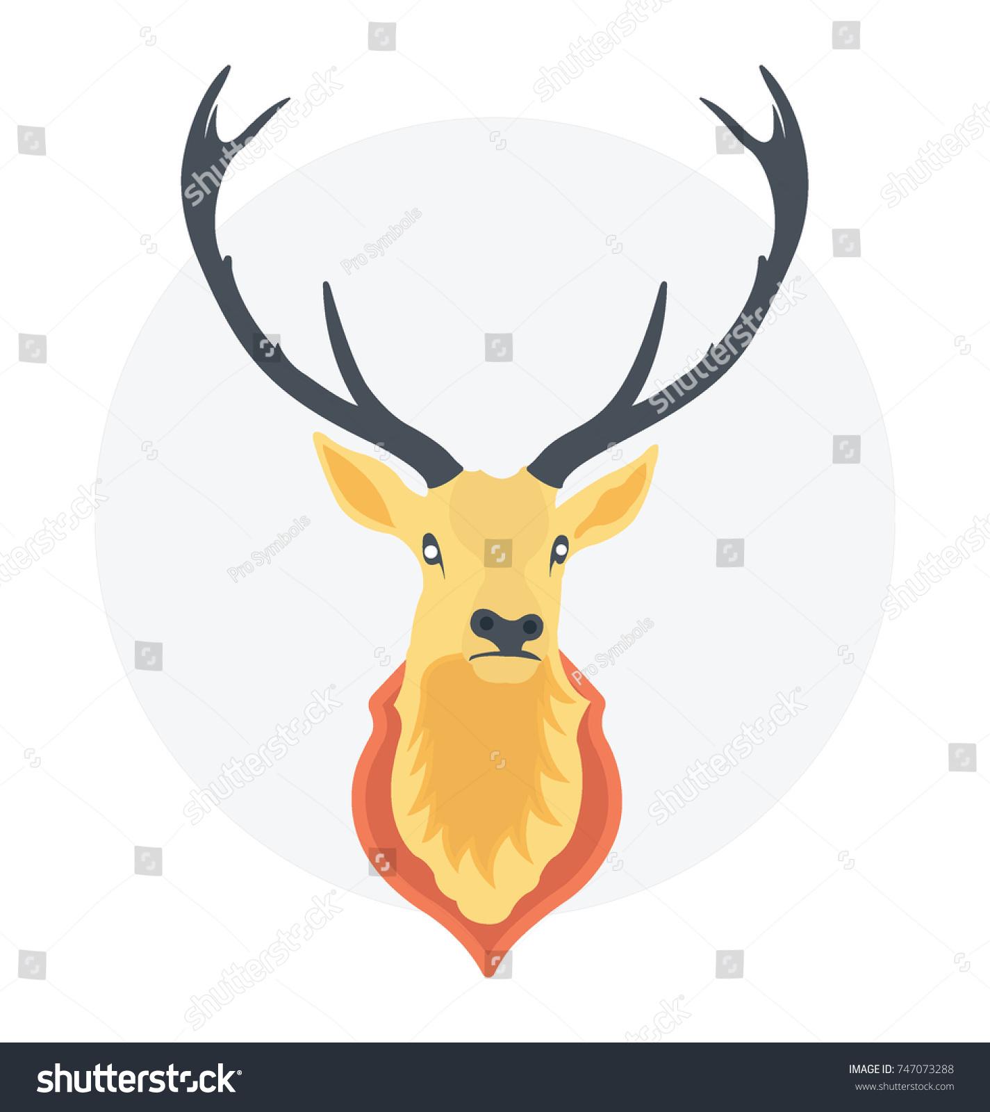 Vector Cartoon Reindeer Large Antlers Wide Stock Vector Royalty