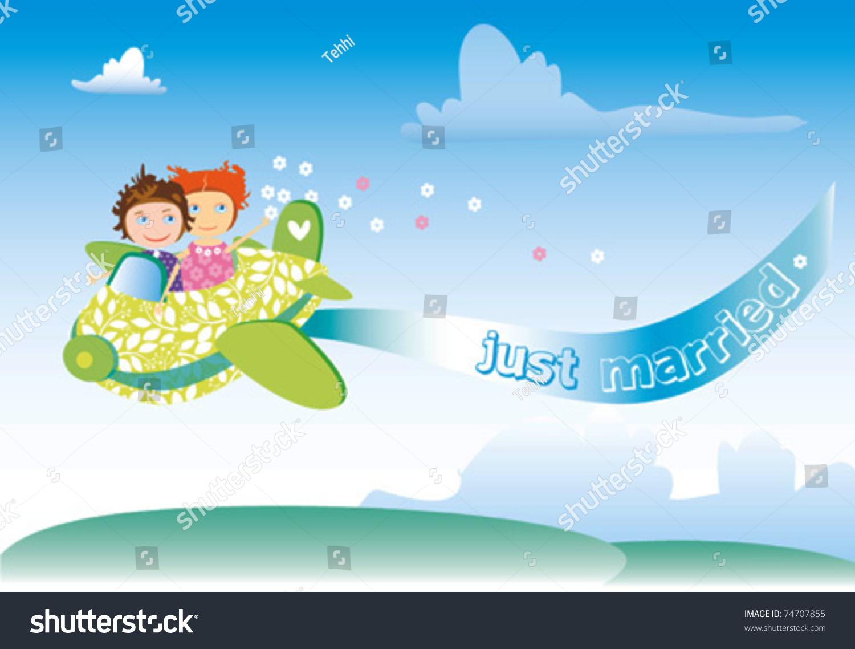 Paar Auf Hochzeitsreise Gehen Mit Seinem Motorrad Für Die Hochzeit  Geschmückt Lizenzfrei Nutzbare Vektorgrafiken, Clip Arts, Illustrationen.  Image 12184625.
