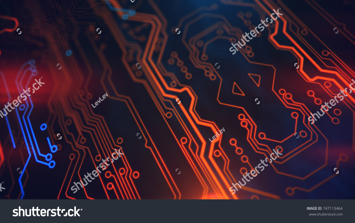 Orange Yellow Blue Background Digital Integrated Stock Illustration Pcb The Printedcircuitboard 3d Royalty Free Photography With Network Technology Printed Circuit Board