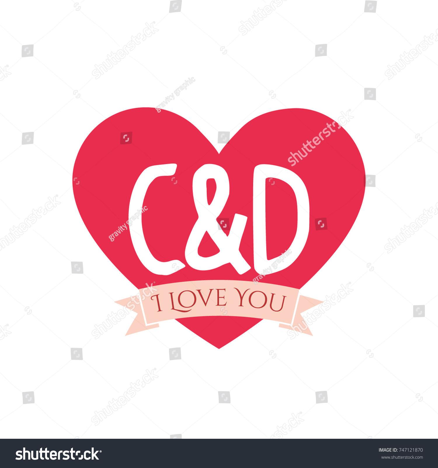 C D Letter Inside Heart St Stock Vector Royalty Free 747121870