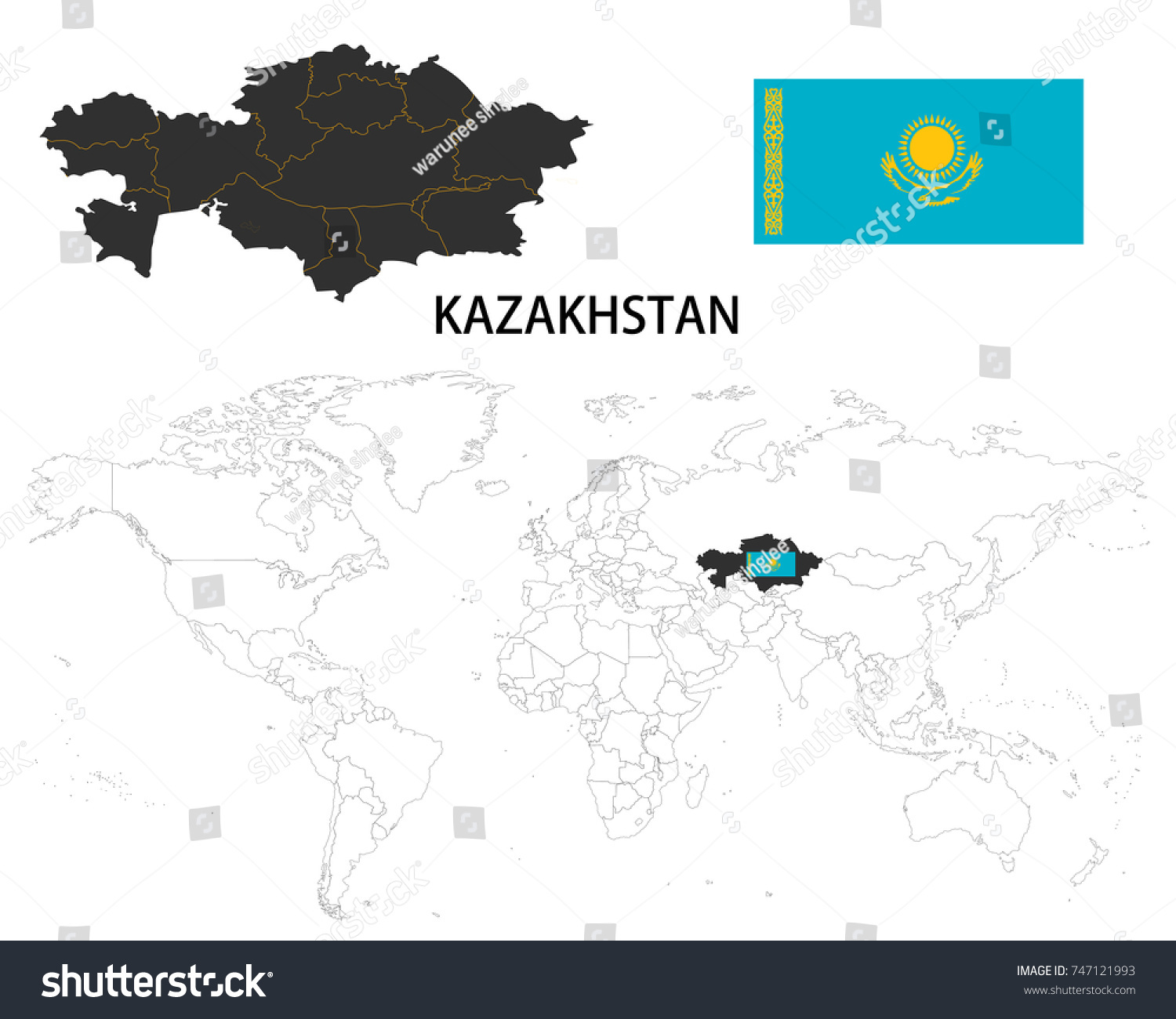 Kazakhstan map on world map flag stock vector 747121993 shutterstock kazakhstan map on a world map with flag on white background gumiabroncs Choice Image