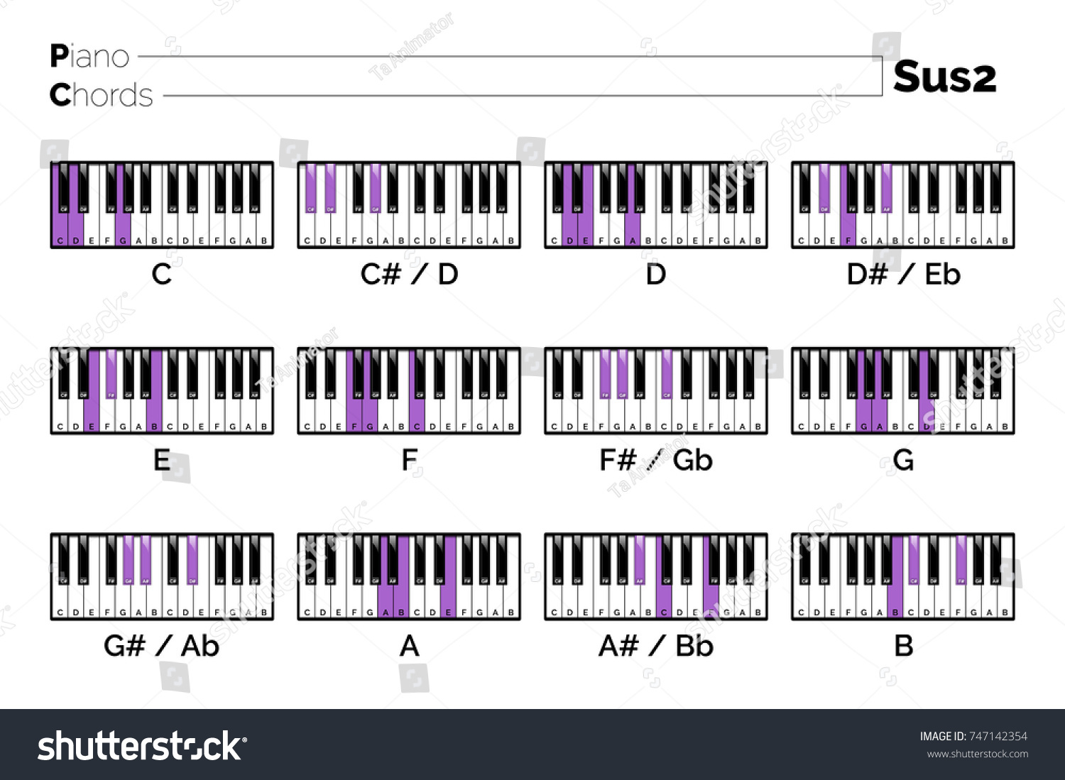 Piano Chord Sus15 Chart Graphic Music Stock Vector Royalty Free ...