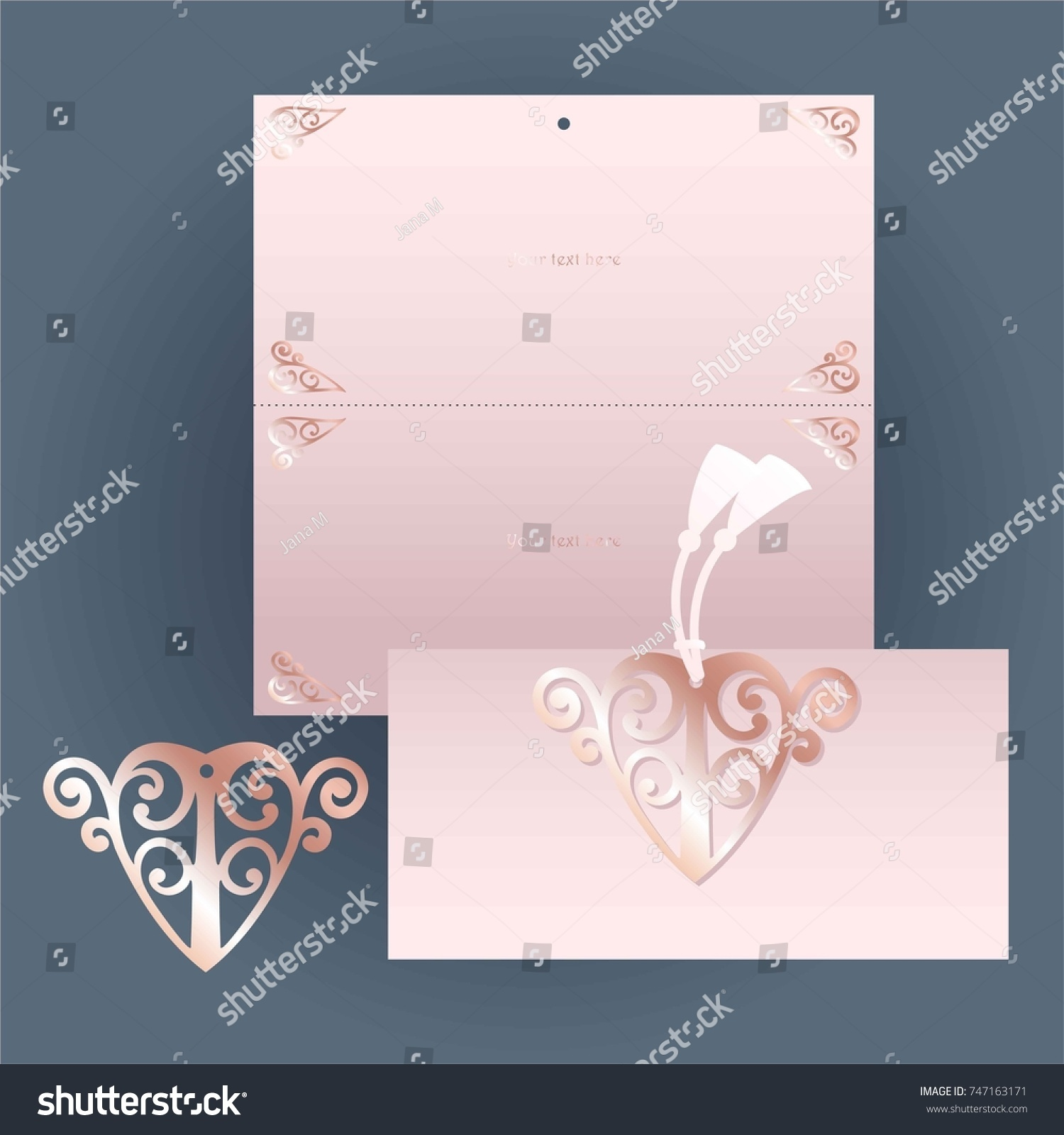 rose invitation cutout rose gold heart stock vector royalty free