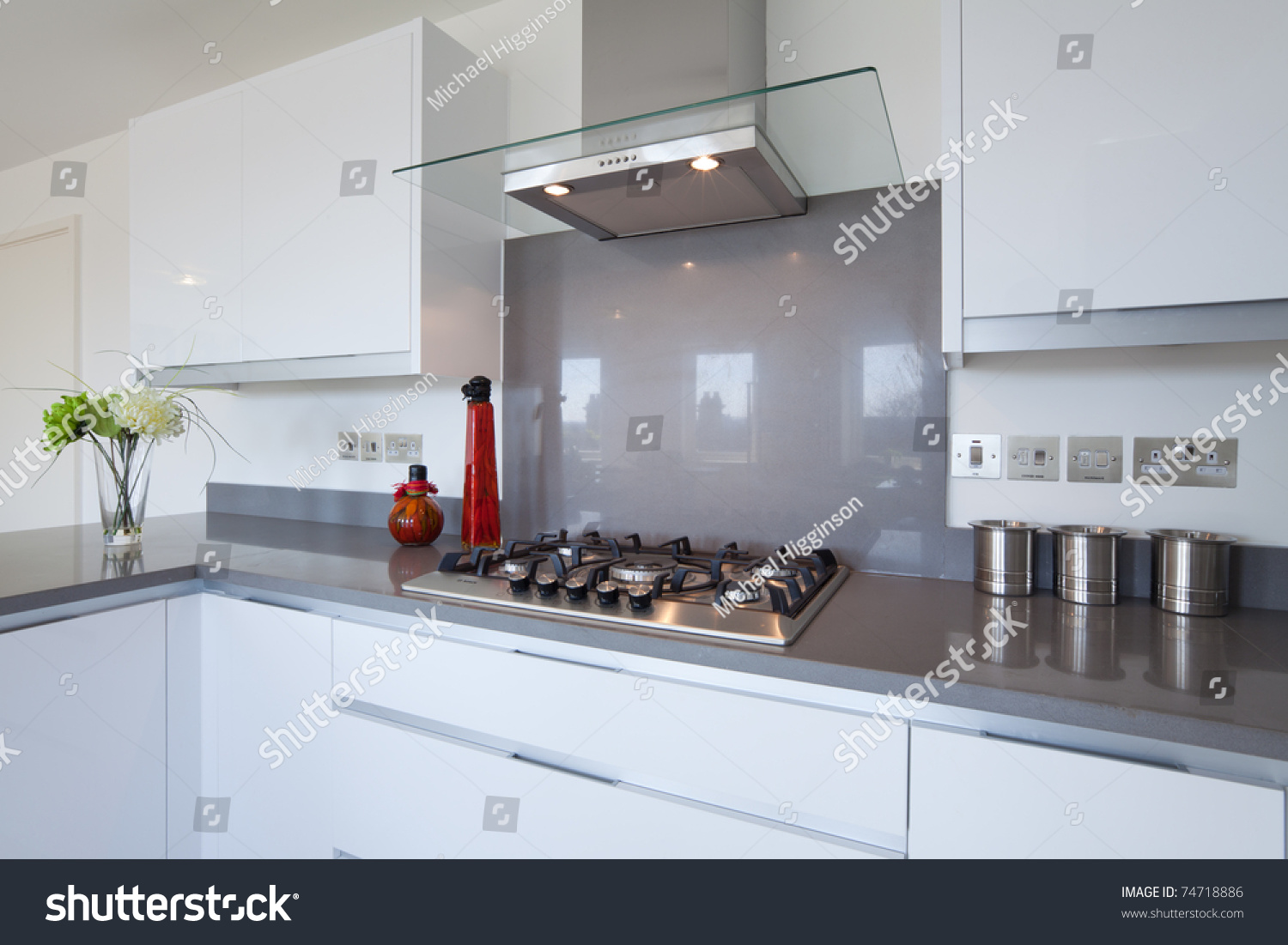 Kitchen Outlet Hob ~ New fitted kitchen built gas hob stock photo