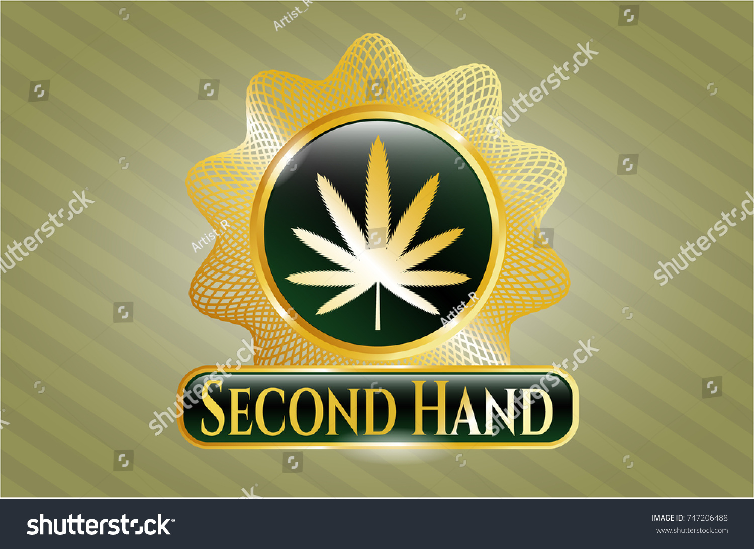 Gold emblem weed leaf icon second stock vector 747206488 shutterstock gold emblem with weed leaf icon and second hand text inside biocorpaavc Choice Image