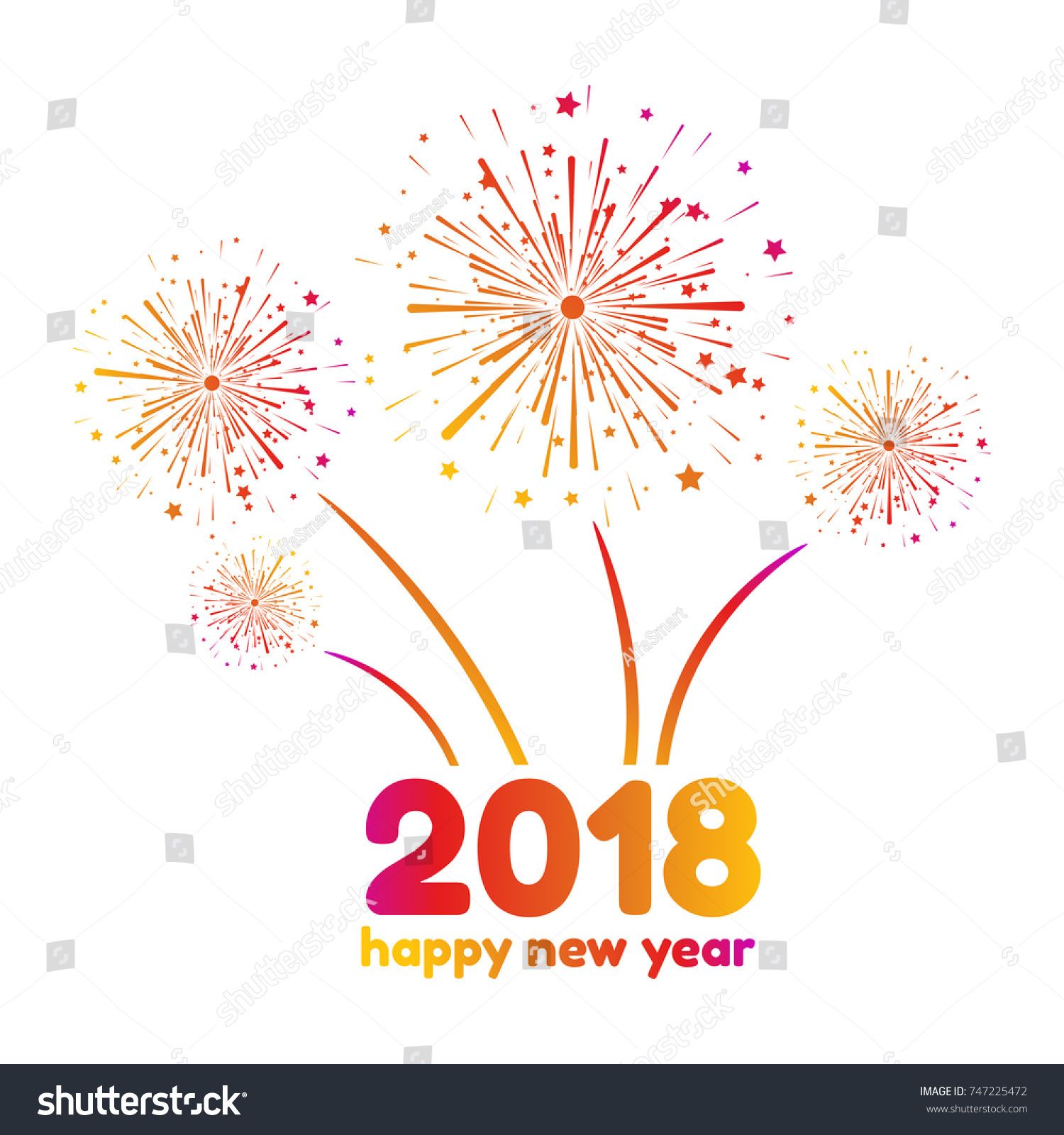 vector illustration of happy new year 2018 colorful fireworks on a white background