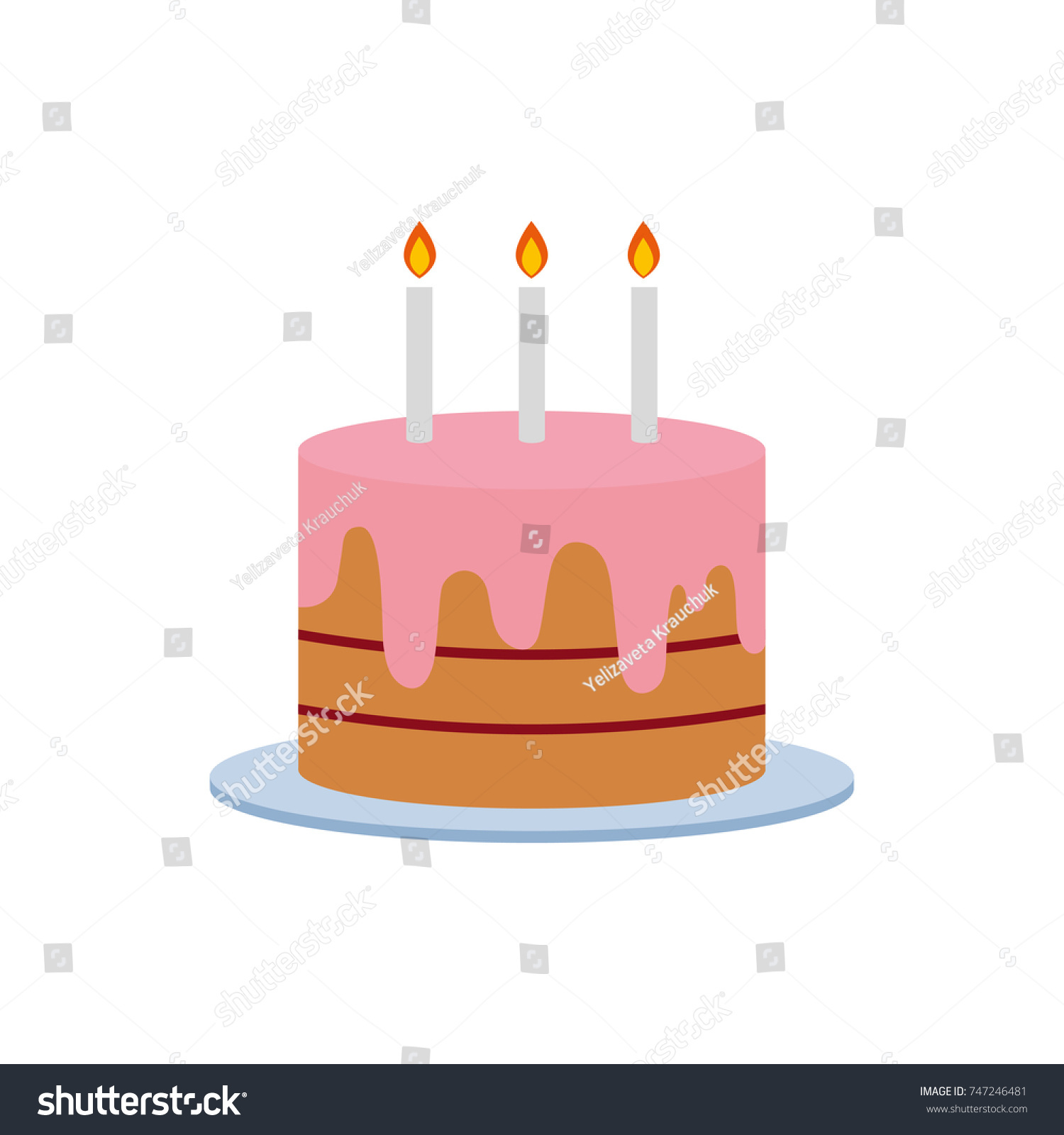 Birthday Cake Vector Illustration With Candles On White Background Art Logo Design