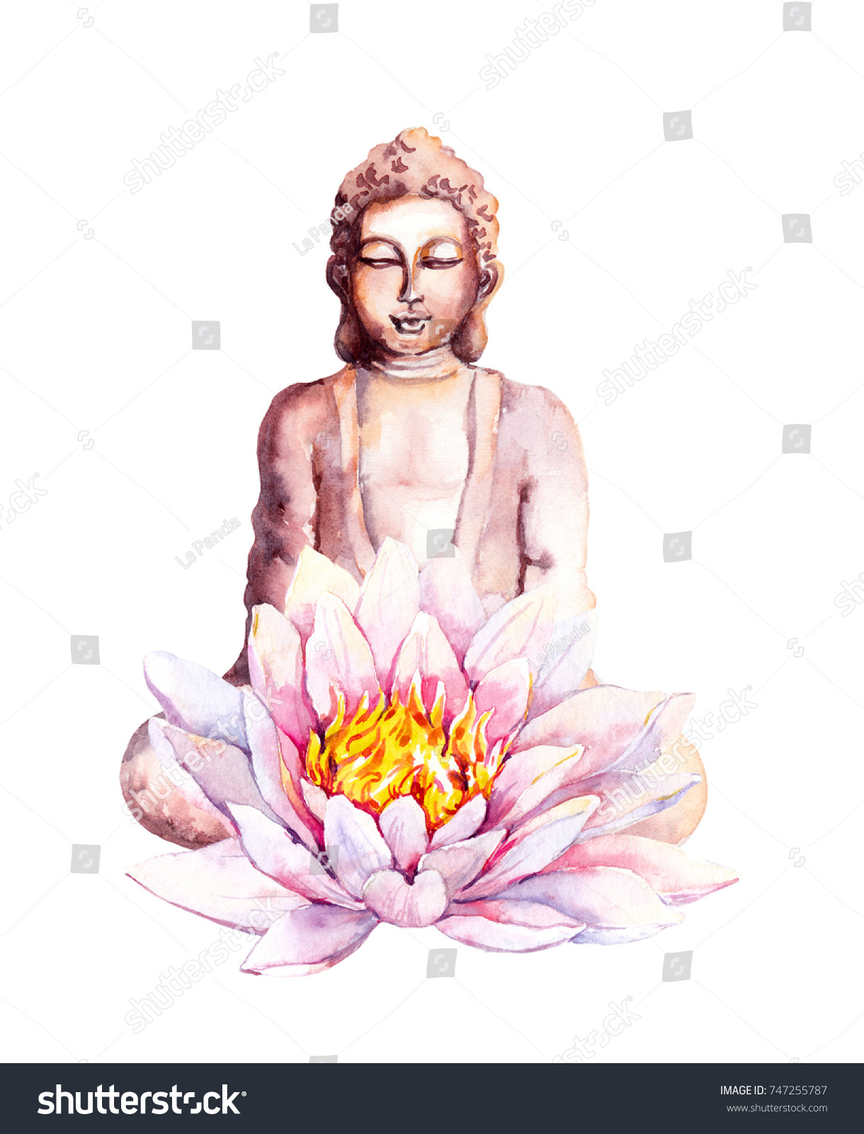 Buddha lotus flower watercolor stock illustration 747255787 buddha with lotus flower watercolor mightylinksfo