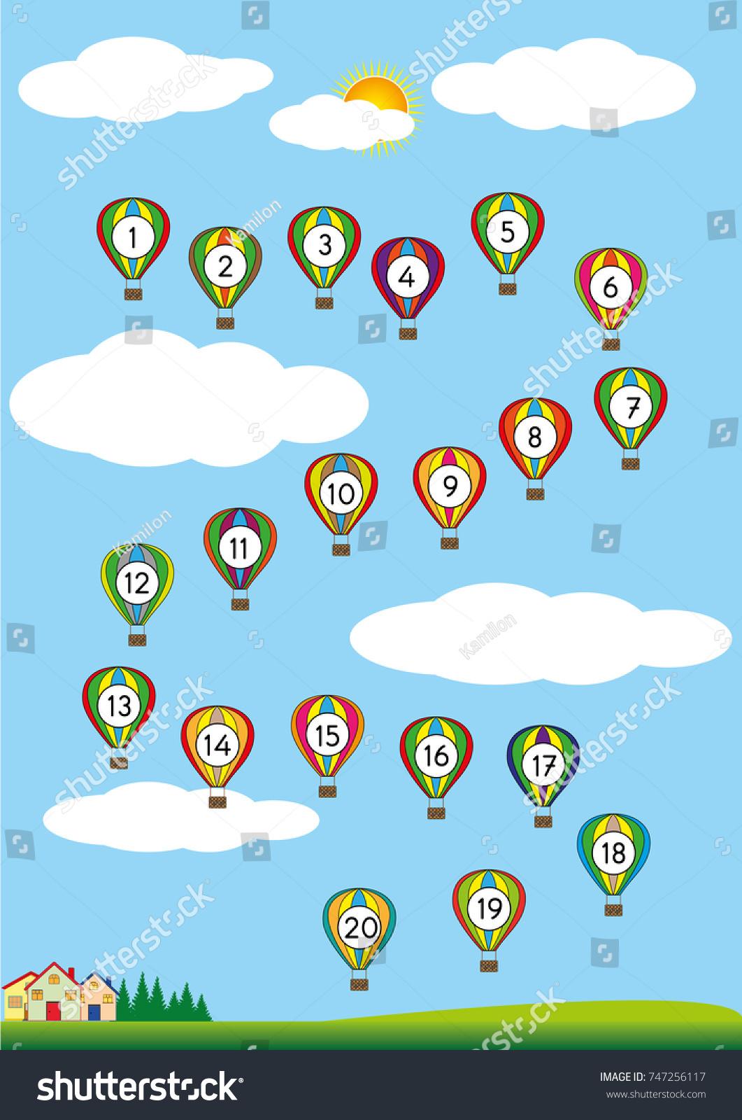 Numbers 120 Printable Exercises Worksheet Kids Stock Vector (Royalty ...