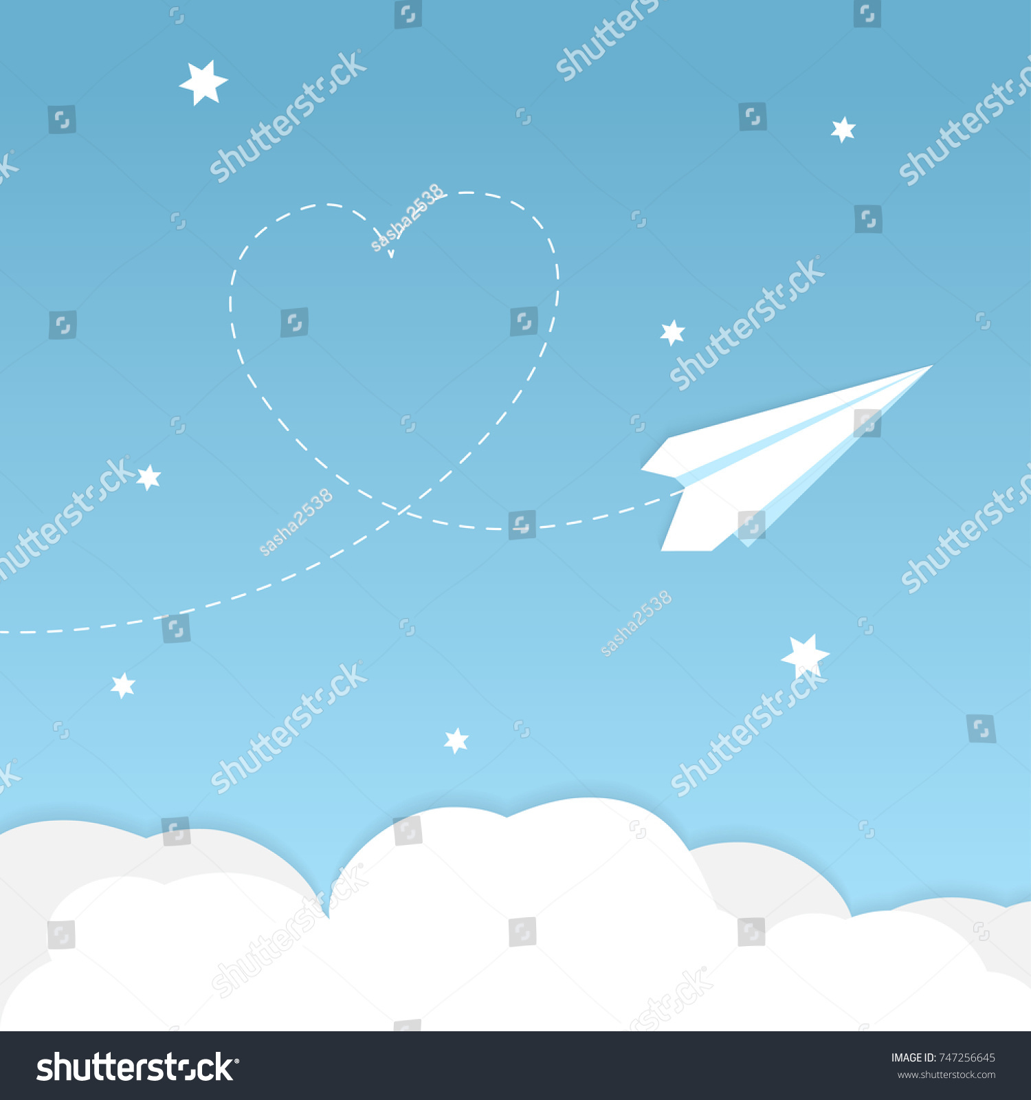 Cartoon Paper Airplane Background Heart Clouds Stock Vector