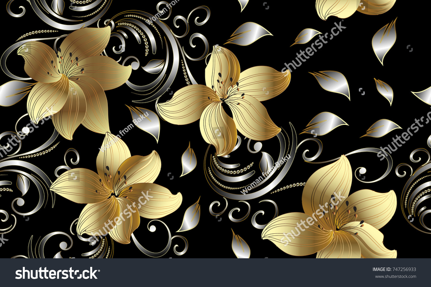3d Golden Flowers Seamless Pattern Floral Background Vintage Wallpaper Swirl Line Art