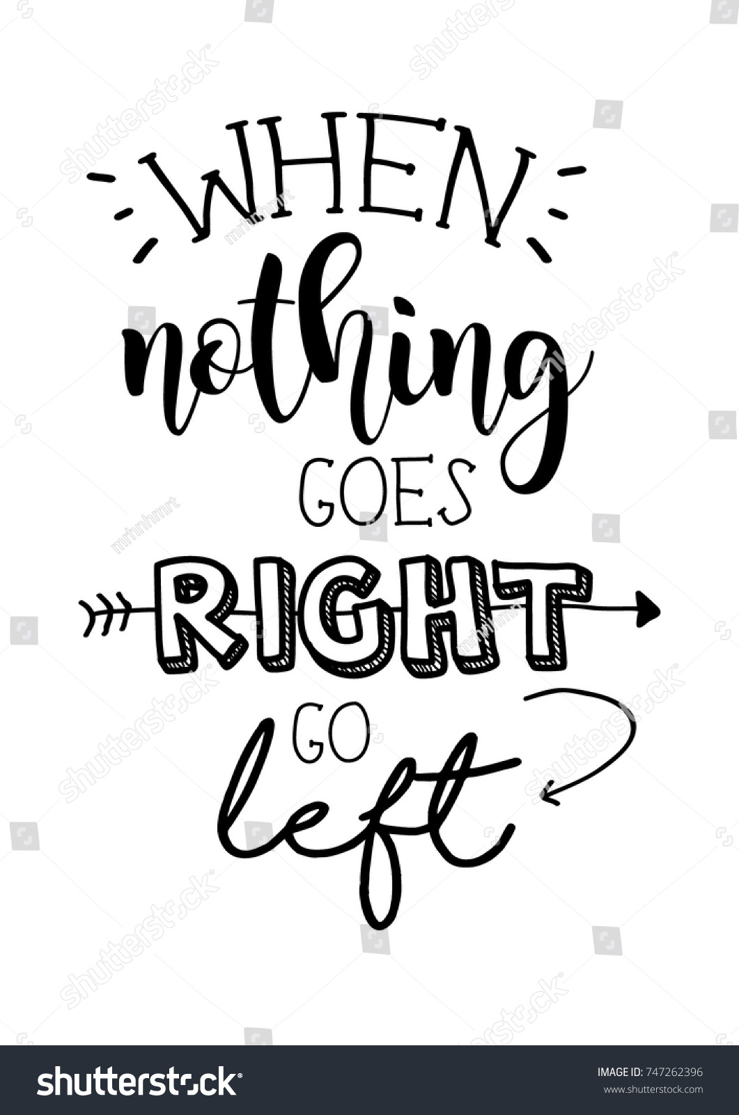 When Nothing Goes Right Go Left Stock Vector Royalty Free