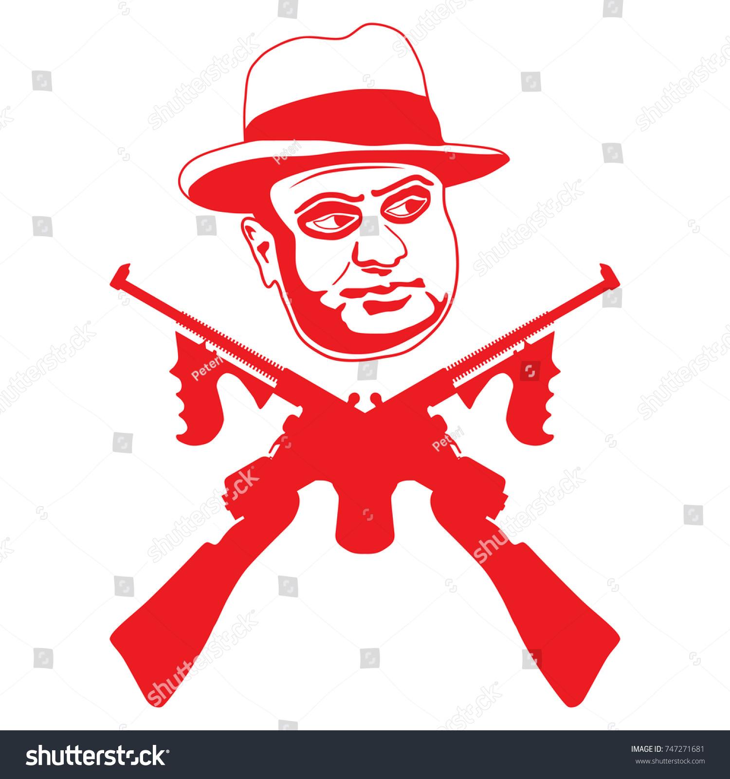 Mafia boss two crossed submachine guns stock vector 747271681 mafia boss with two crossed submachine guns symbol of violence and crime concept flat buycottarizona Choice Image