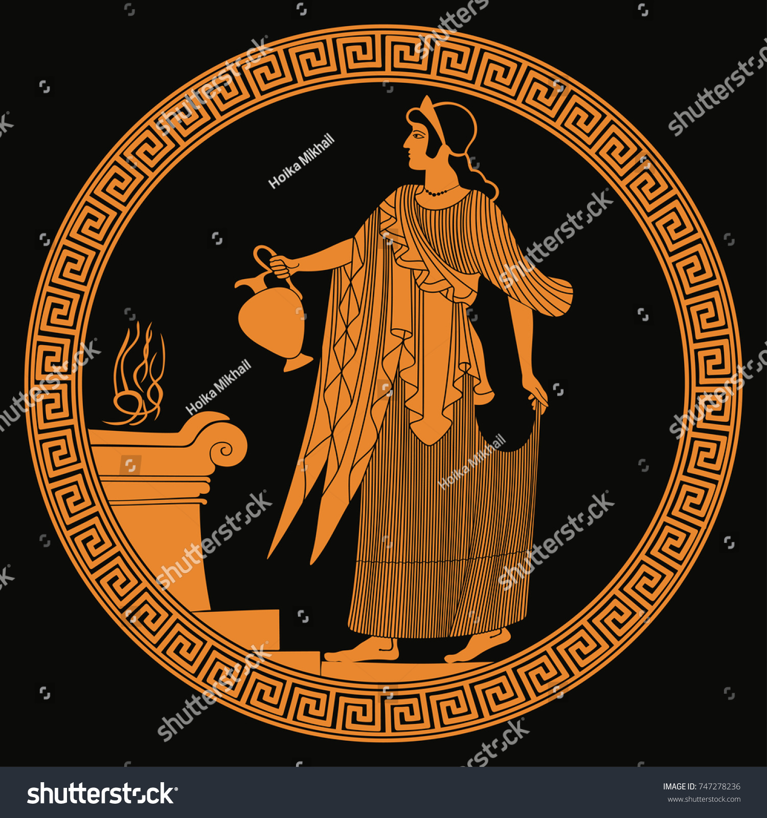 Ancient Greek Goddess Aphrodite Pitcher Her Stock Vector Royalty