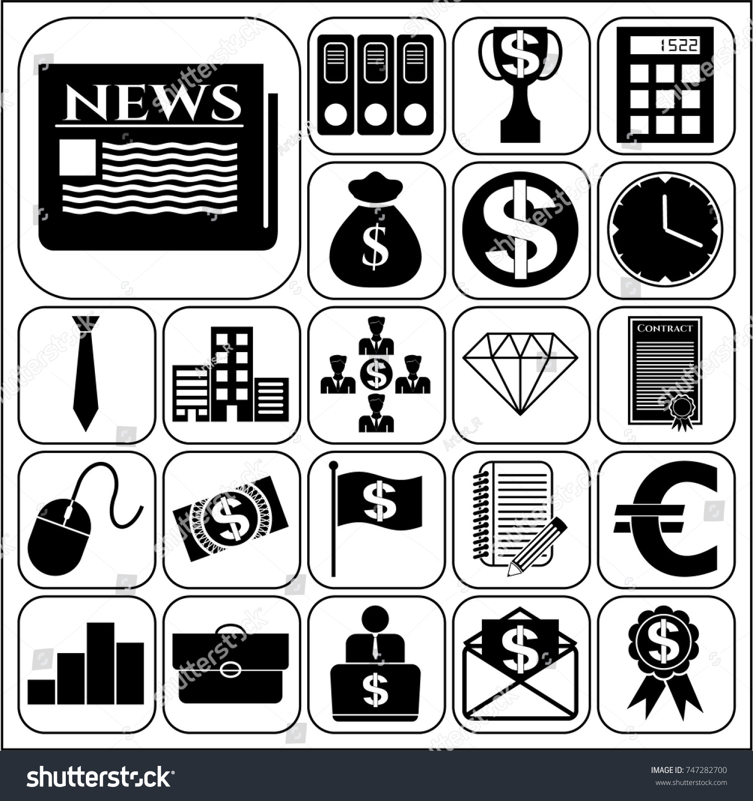 Set 22 business high quality icons stock vector 747282700 set of 22 business high quality icons collection detailed design vector illustration yadclub Image collections