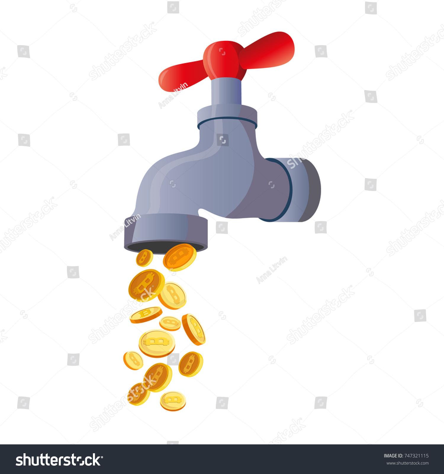 Bitcoin Faucet Water Tap Coins Stock Vector 747321115 - Shutterstock