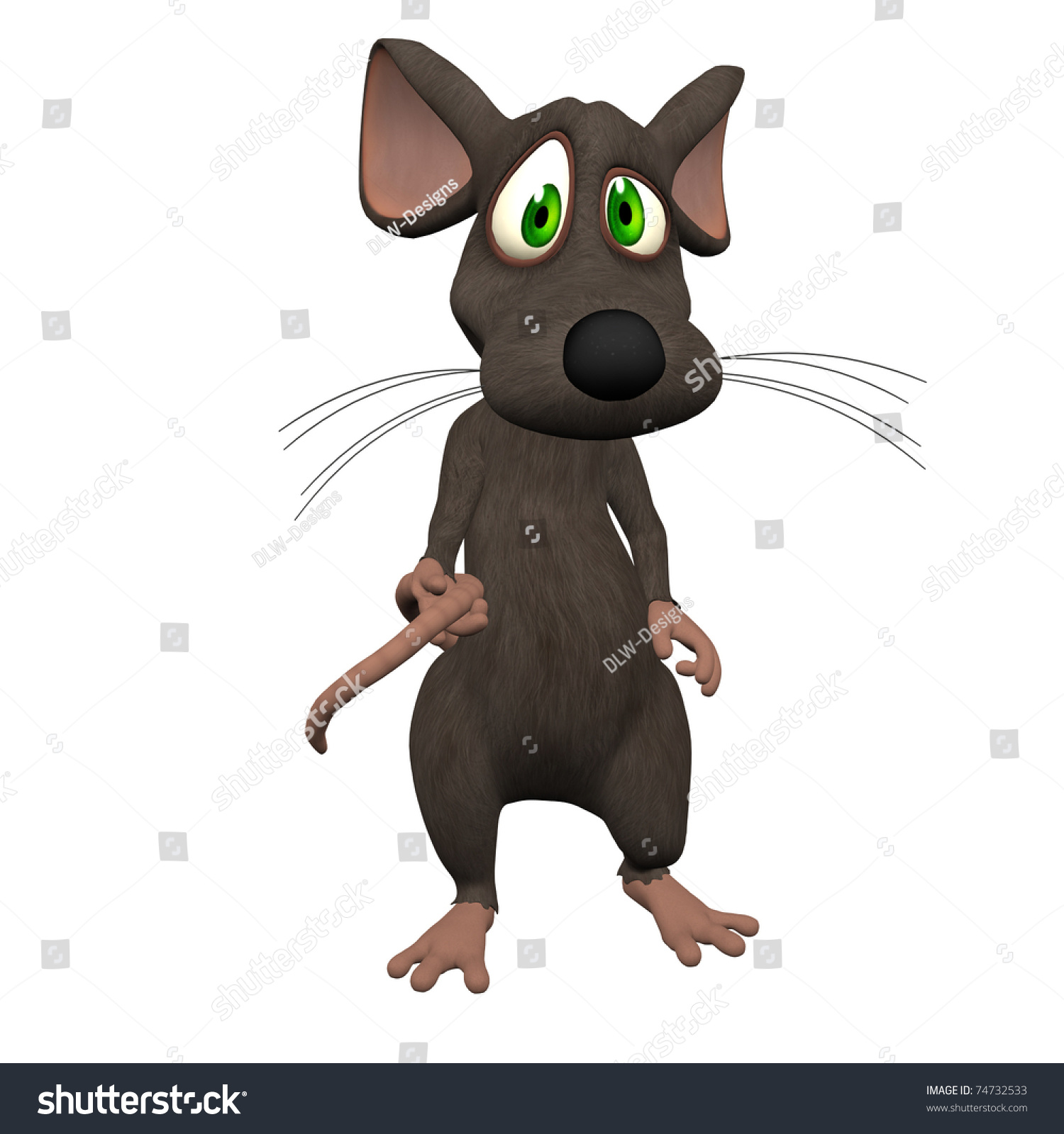 3d Cartoon Mouse Isolated Stock Illustration 74732533