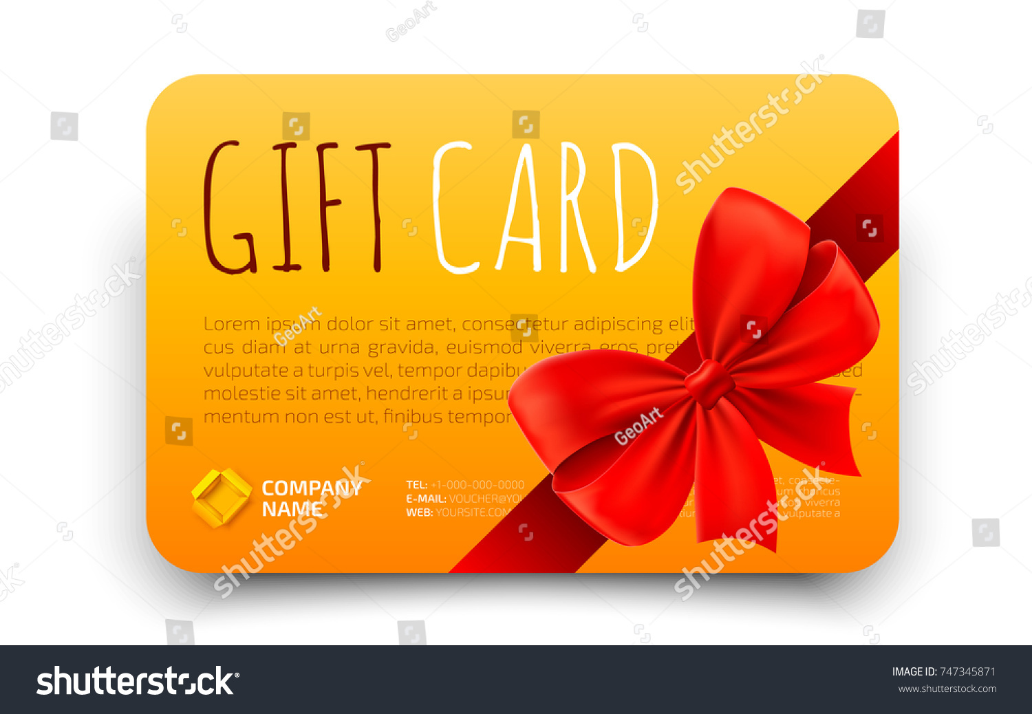 Golden Gift Card Template Realistic Red Stock Vector Royalty Free