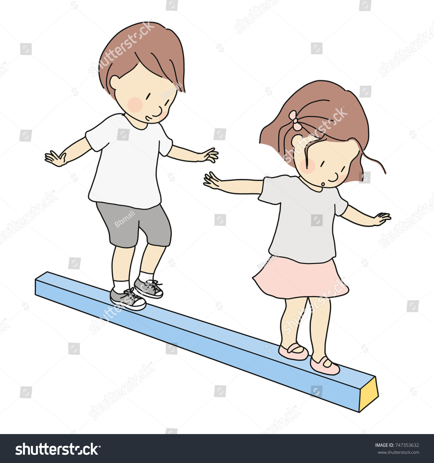 Vector Illustration Little Kids Boy Girl Stock Vector