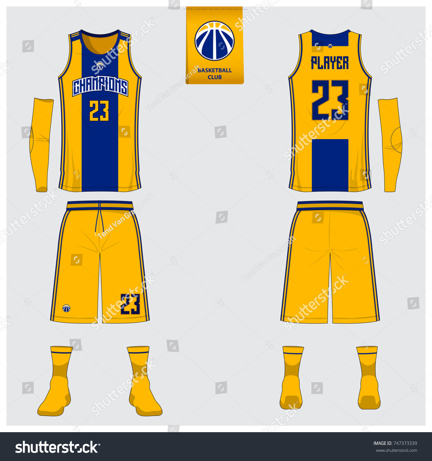 basketball uniform template design yellow blue のベクター画像素材