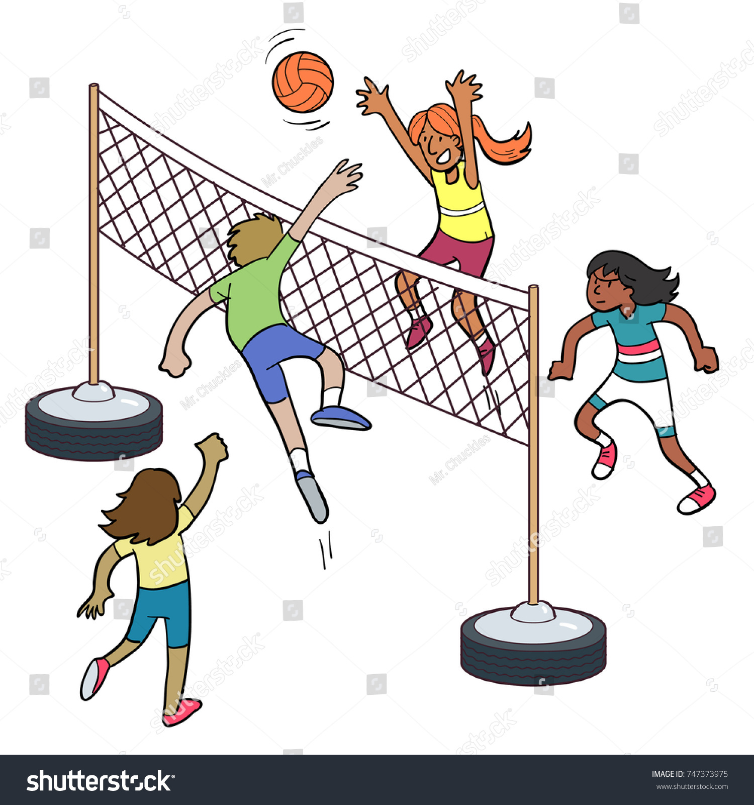 Cartoon People Playing Volleyball Stock Vector Royalty Free 747373975