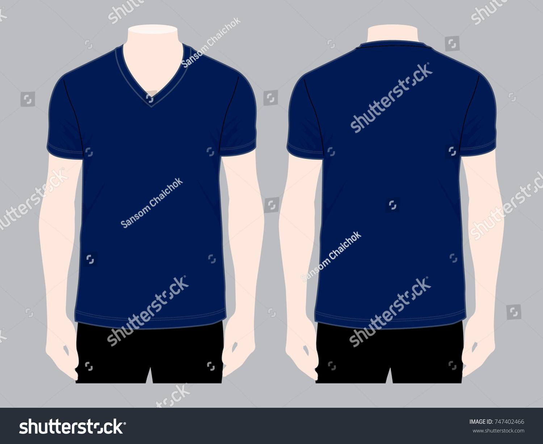 Navy V Neck Shirt Vector Template Front Stock Vector Royalty Free