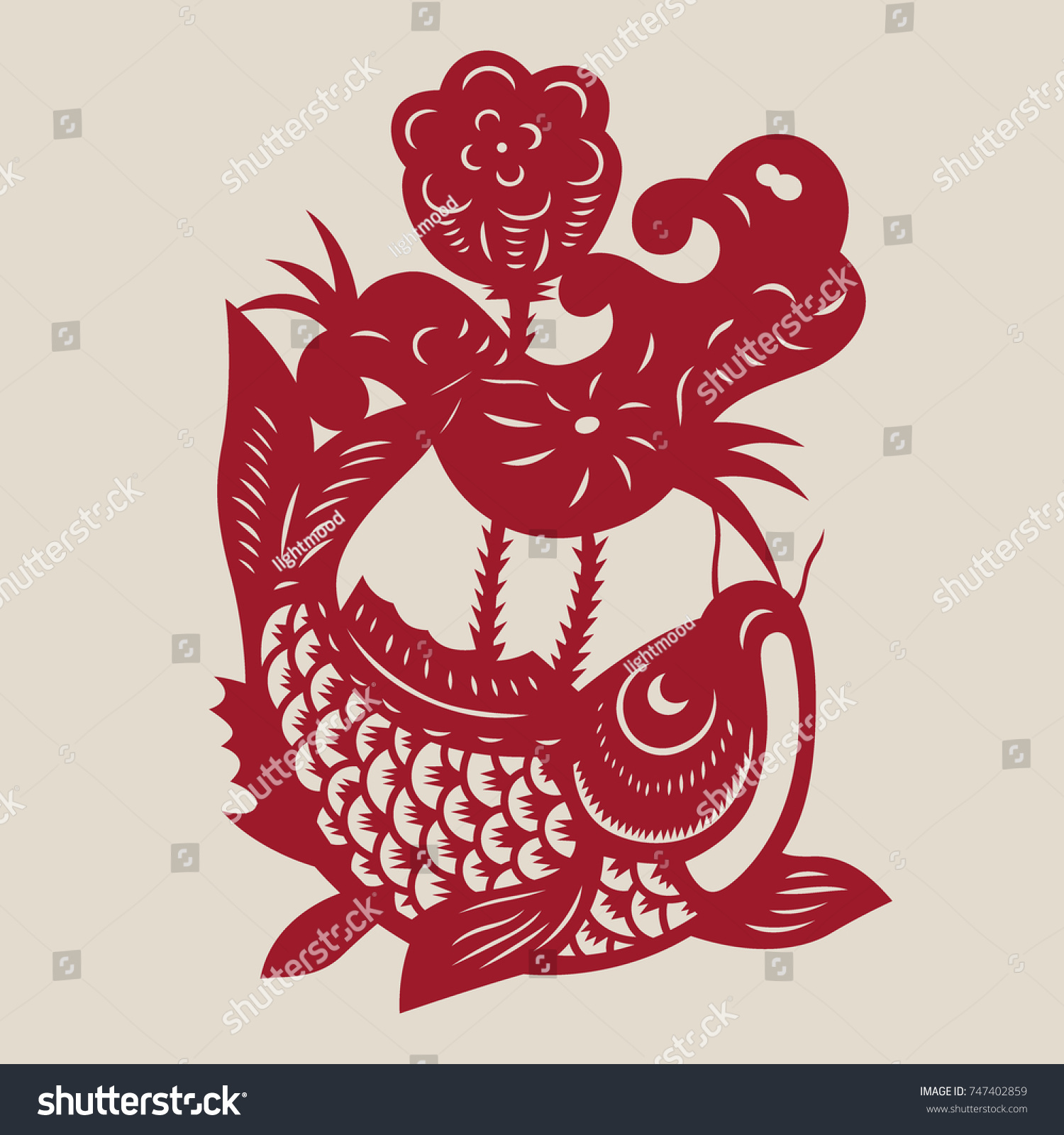 Fish Chinese Traditional Papercut Art Stock Vector 747402859 ...