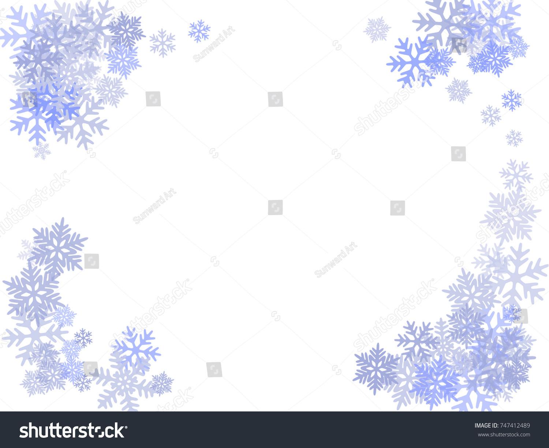 winter card border snow flakes falling stock illustration
