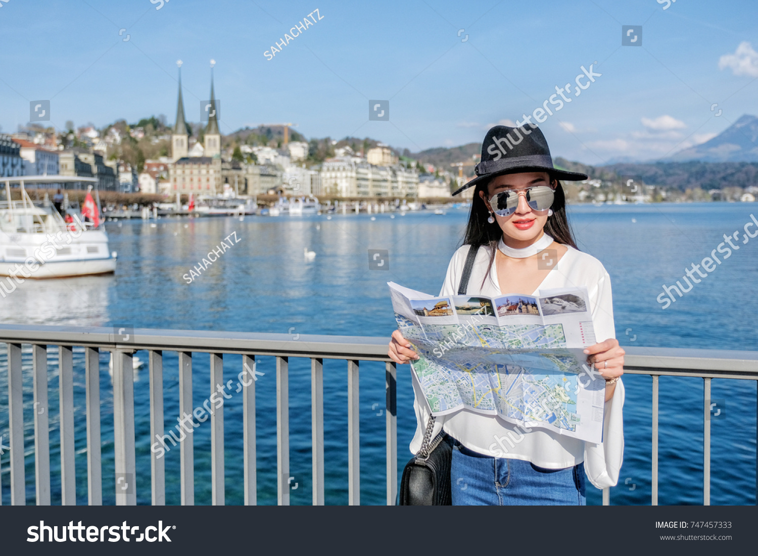 Young Female Tourist Looking Map Center Stock Photo Royalty Free