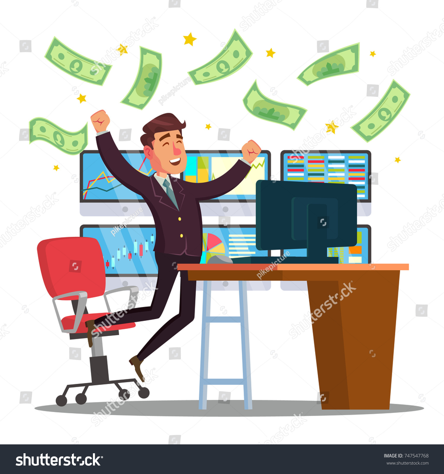 Classic Trader Stock Broker Trading Bull Stock Illustration ...