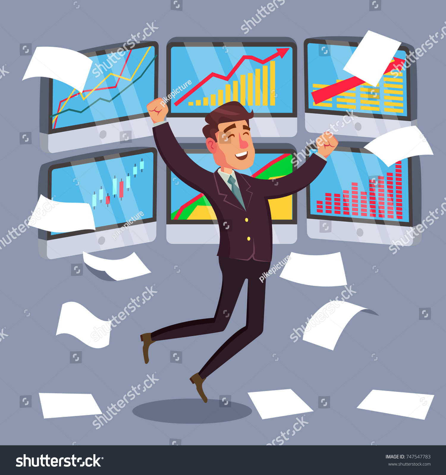 Professional Trader Online Working Trader Monitor Stock Illustration ...