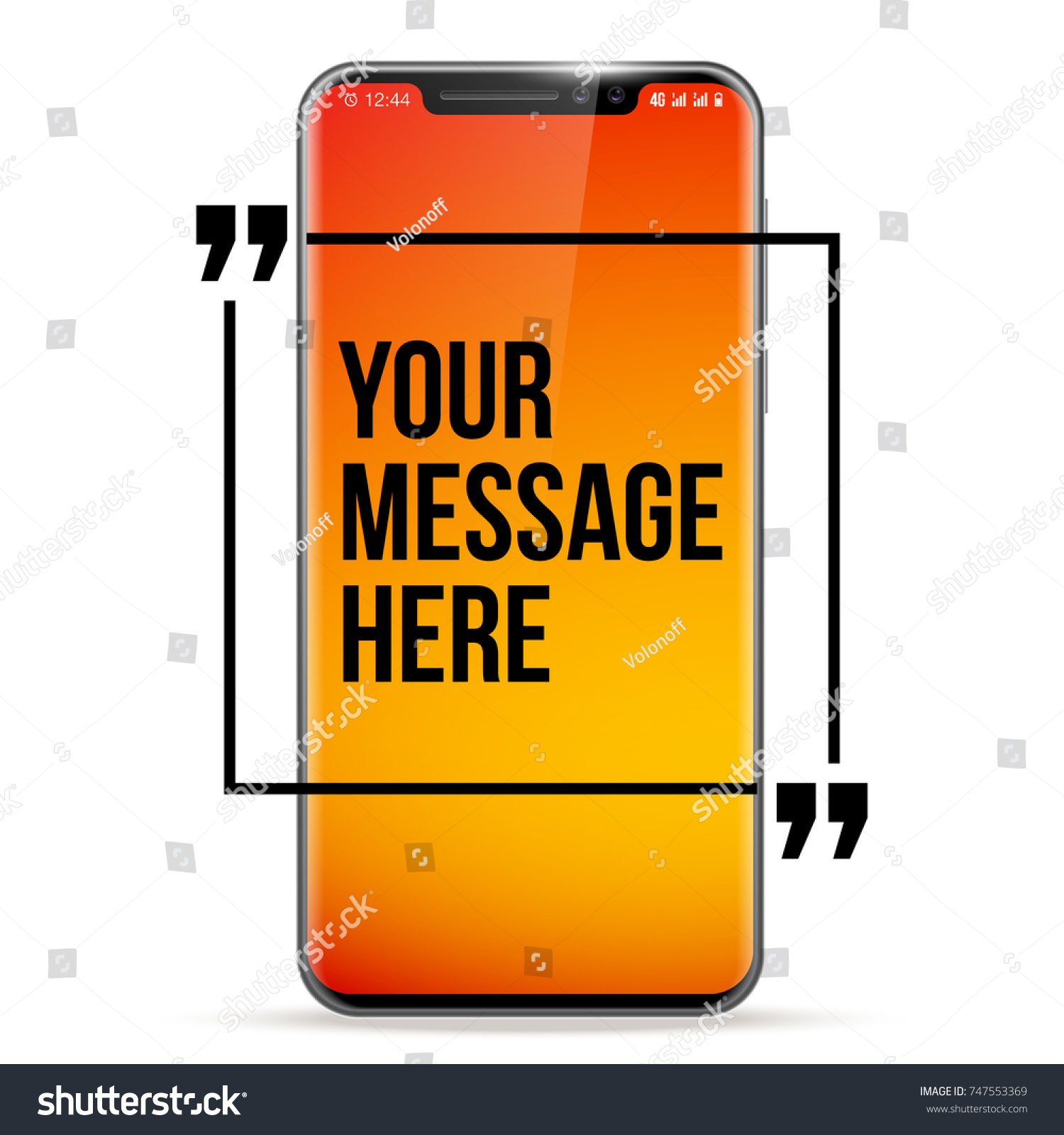Cell Phone Quotes Vector Mobile Phone Innovative Quotation Template Stock Vector