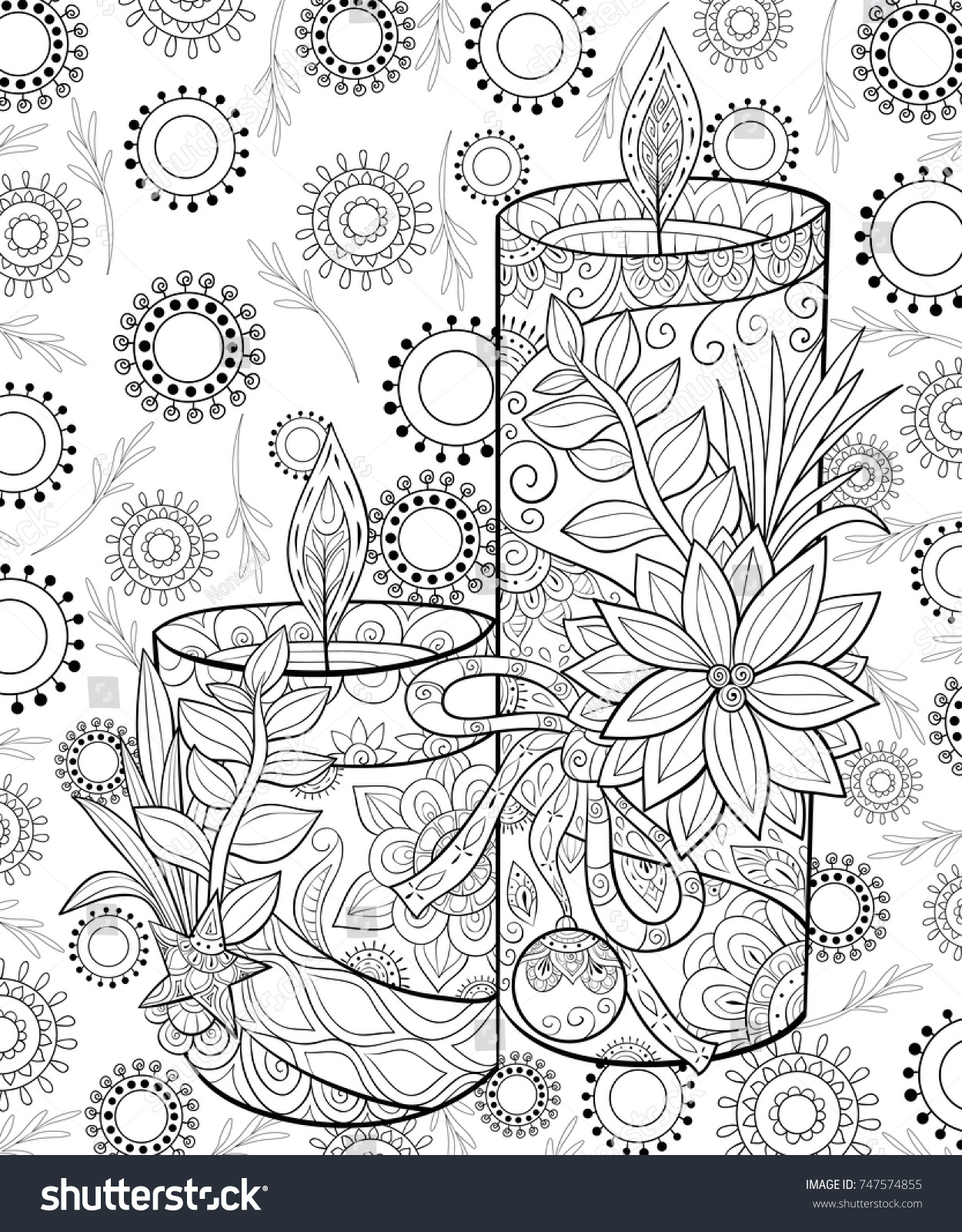 Adult Coloring Pagebook The Christmas Candles With Flower And Decoration Ball Background