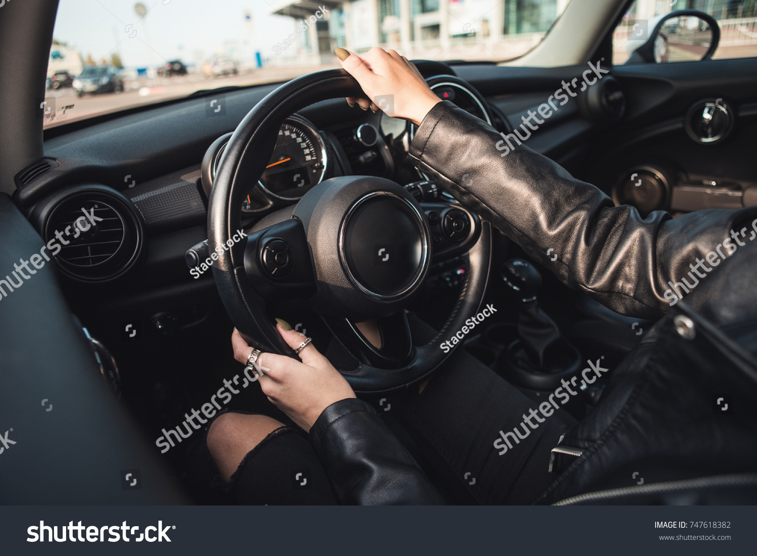 Cropped Image Girl Driving Car Hands Stock Photo Edit Now