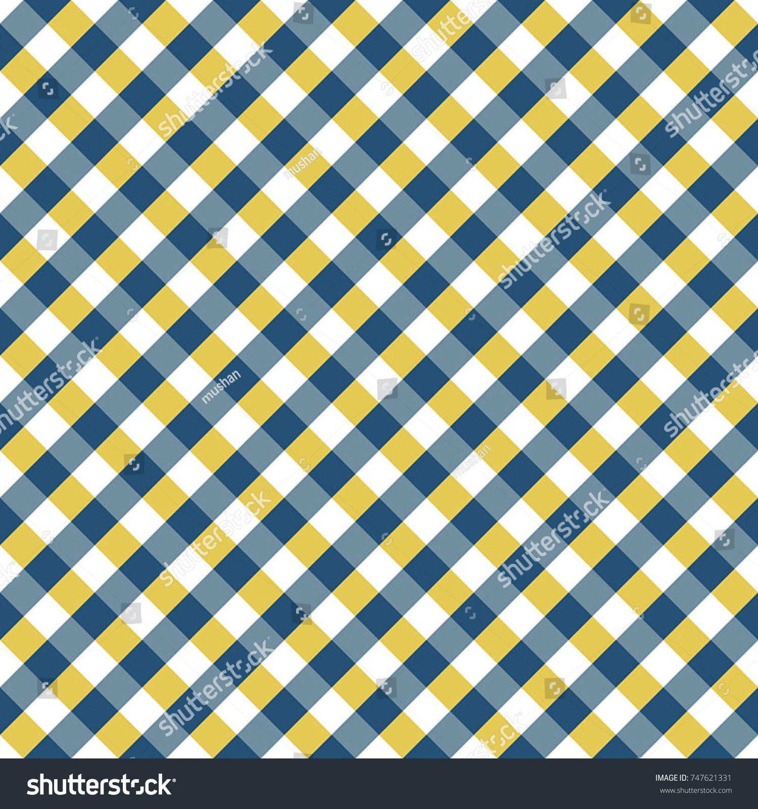 Blue And Yellow Gingham Tablecloth Pattern. Seamless Diagonal  Rhombus/Squares Texture