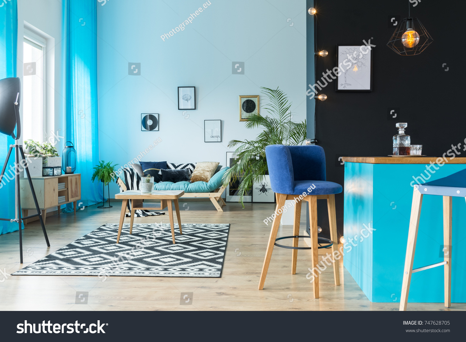 Living Room Interior Shades Blue Kitchen Stock Photo (Royalty Free ...